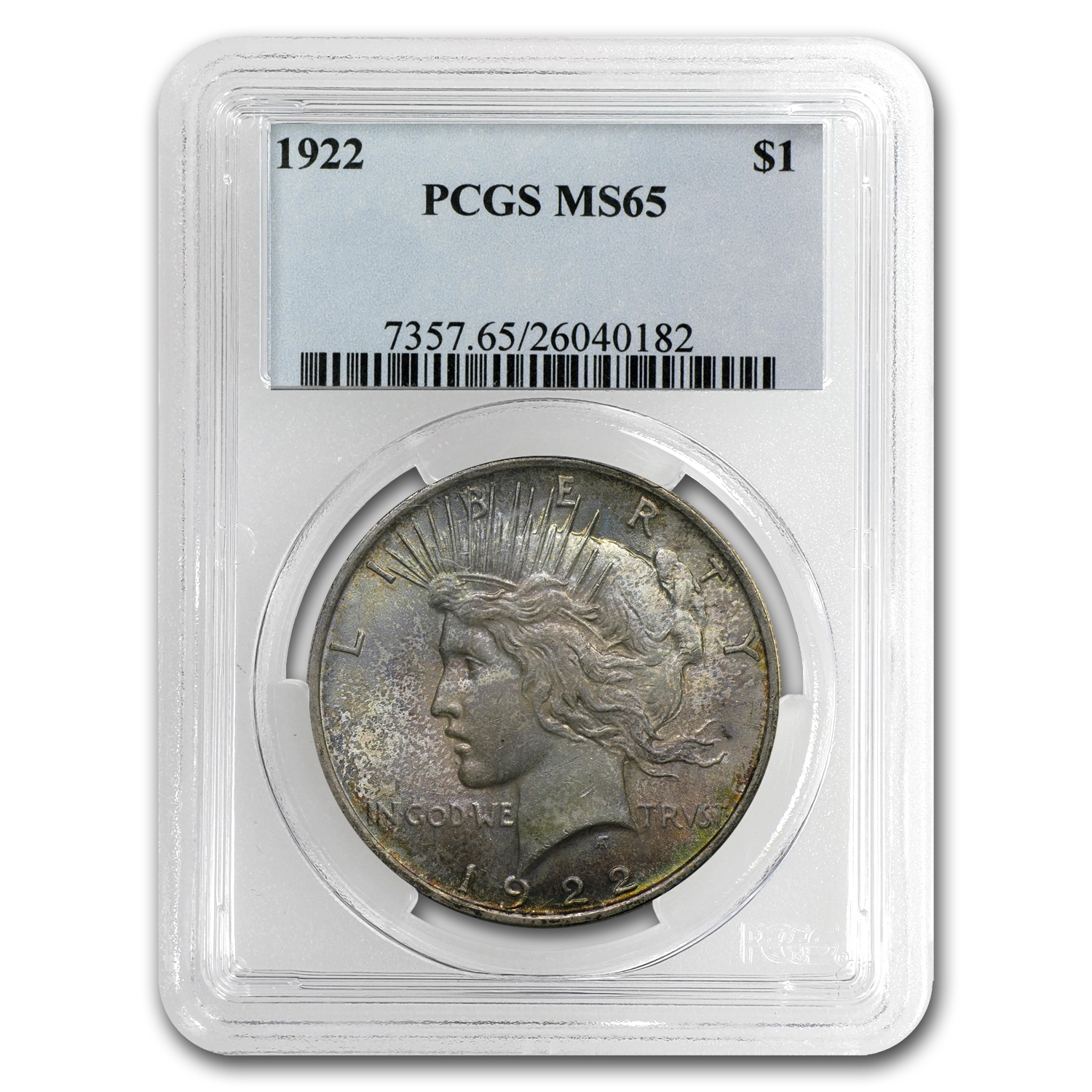 1922-1925 Peace Dollars MS-65 PCGS (Toned Obv/Rev)