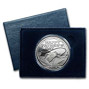 1 oz Silver Round - Happy Father's Day Fishing (w/Gift Box & Cap)
