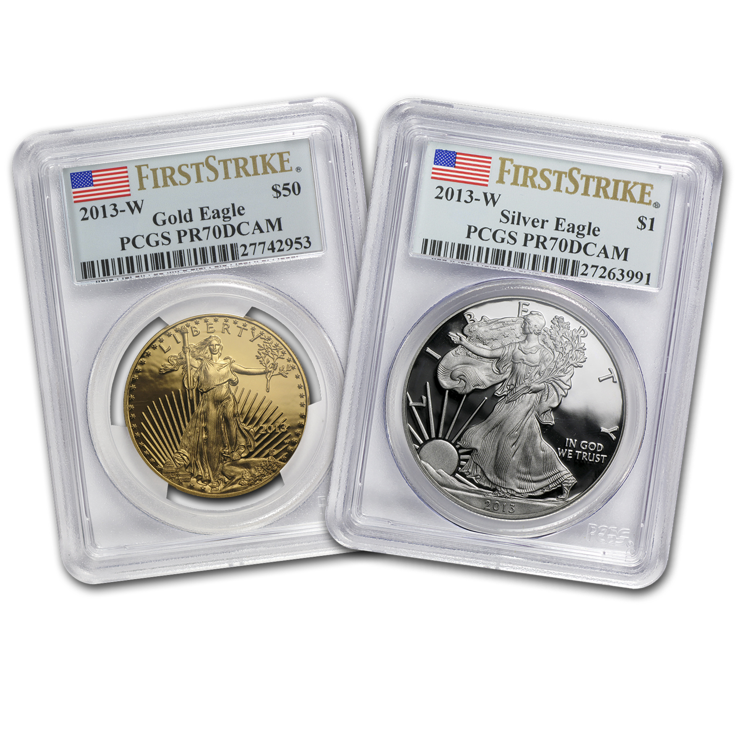 2013-W 2-Coin Gold & Silver Eagle Set PR-70 PCGS (First Strike)