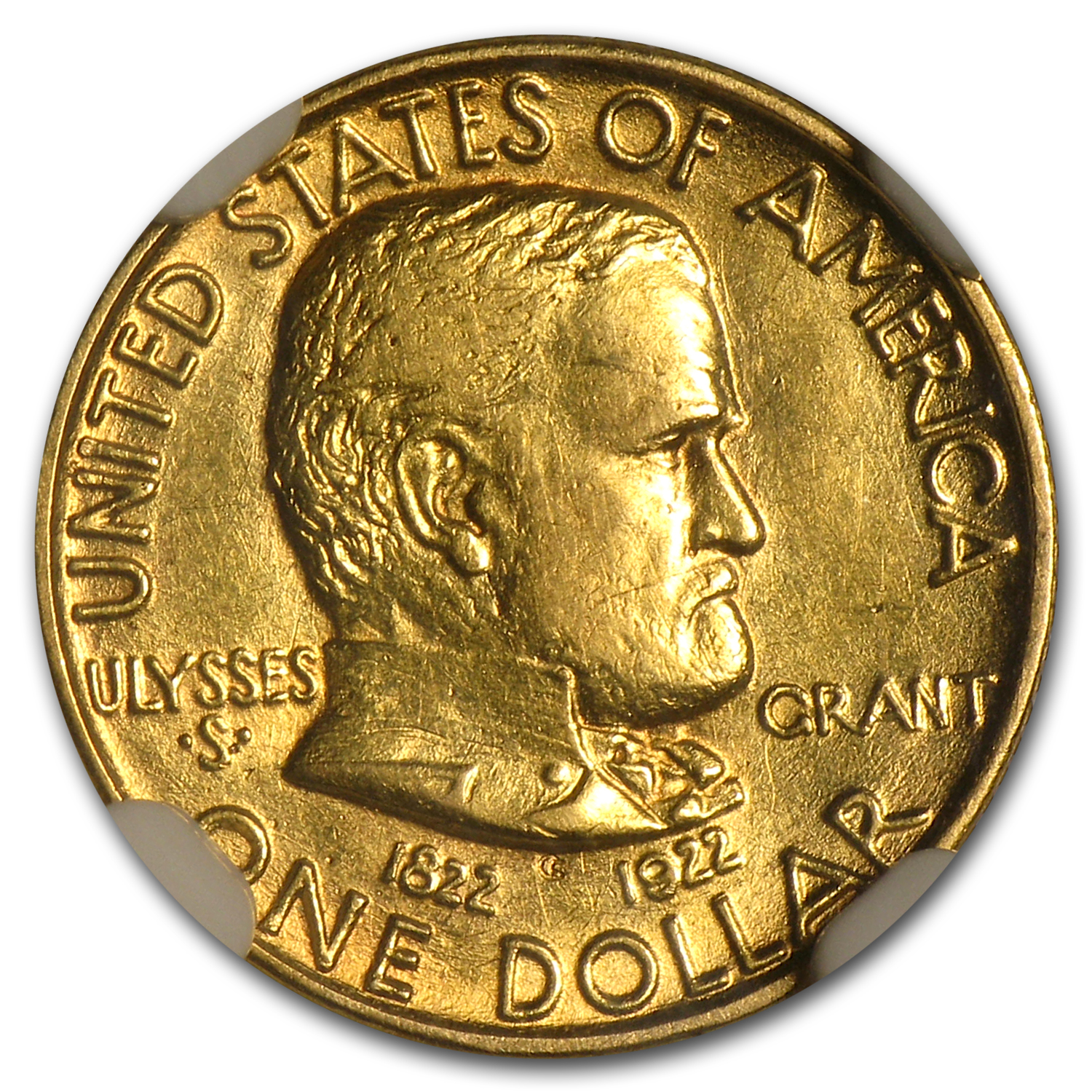 1922 $1.00 Gold Grant - No Star AU-55 NGC
