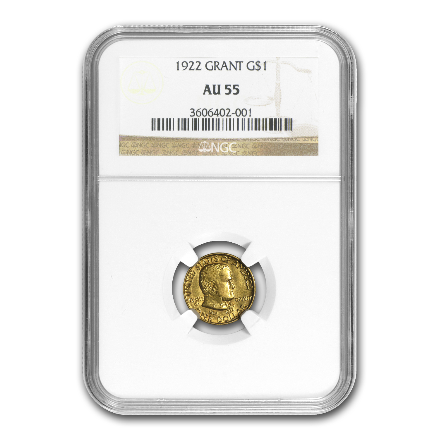 1922 Gold $1.00 Grant No Star AU-55 NGC