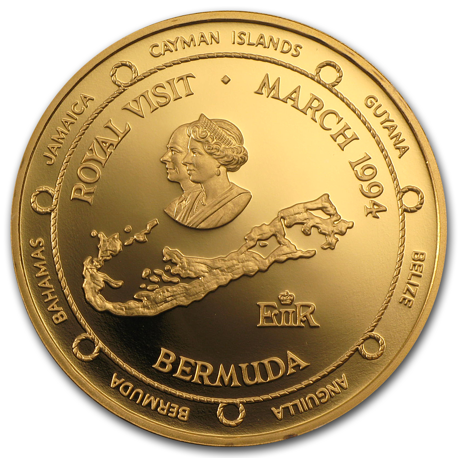 Bermuda 1994 $100 Gold Proof Royal Visit AGW .1.4015