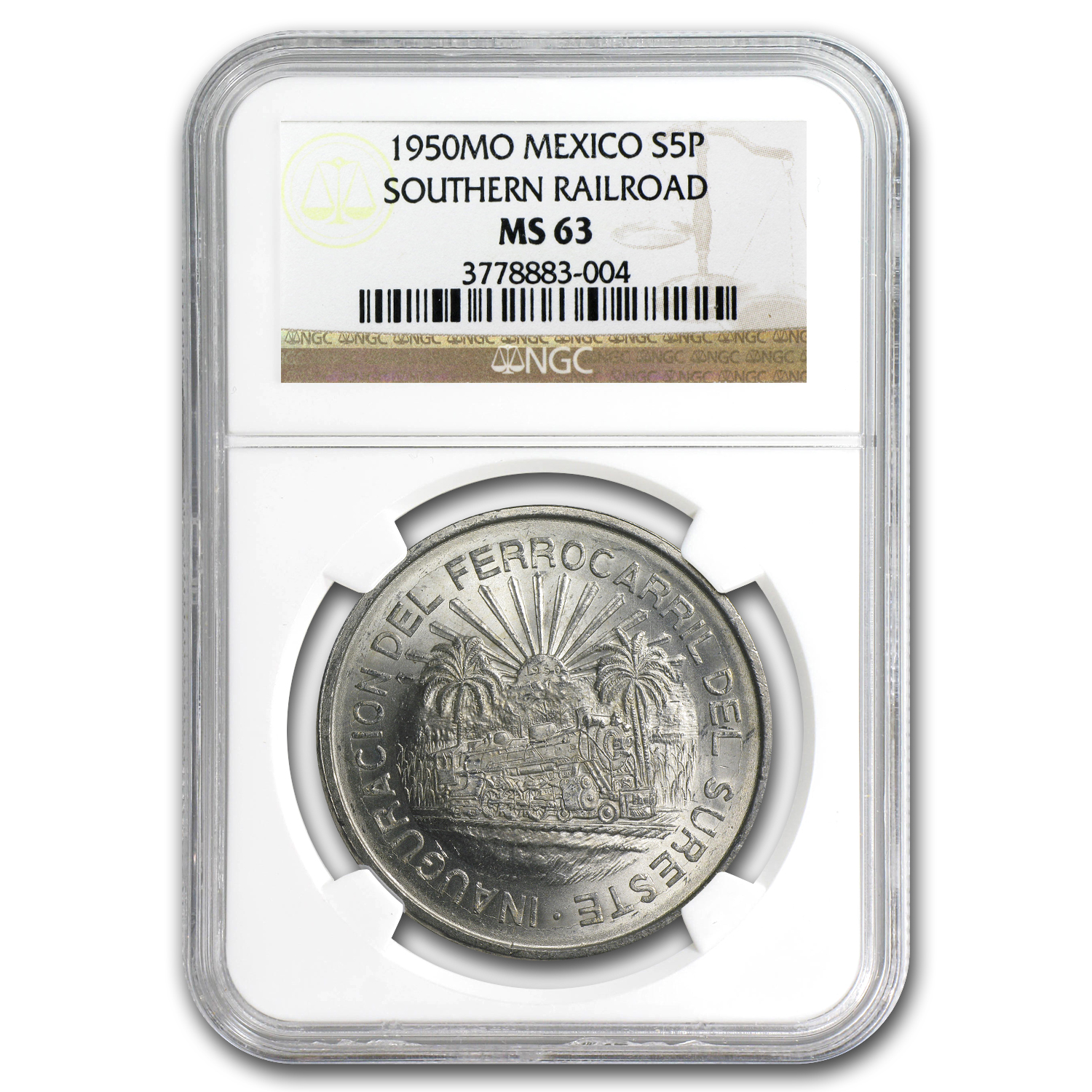 1950 Mexico Silver 5 Pesos Southern Railroad MS-63 NGC