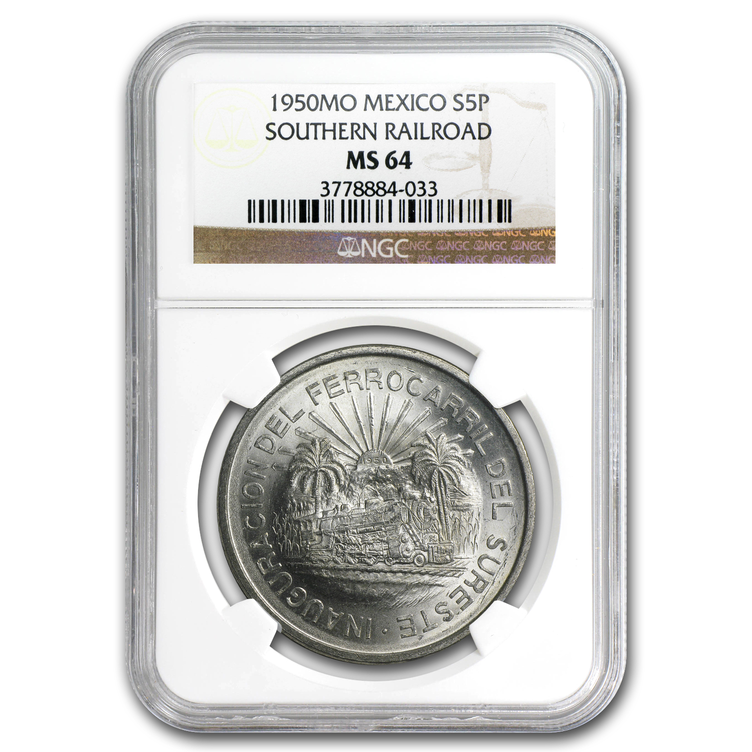 1950 Mexico Silver 5 Pesos Southern Railroad MS-64 NGC