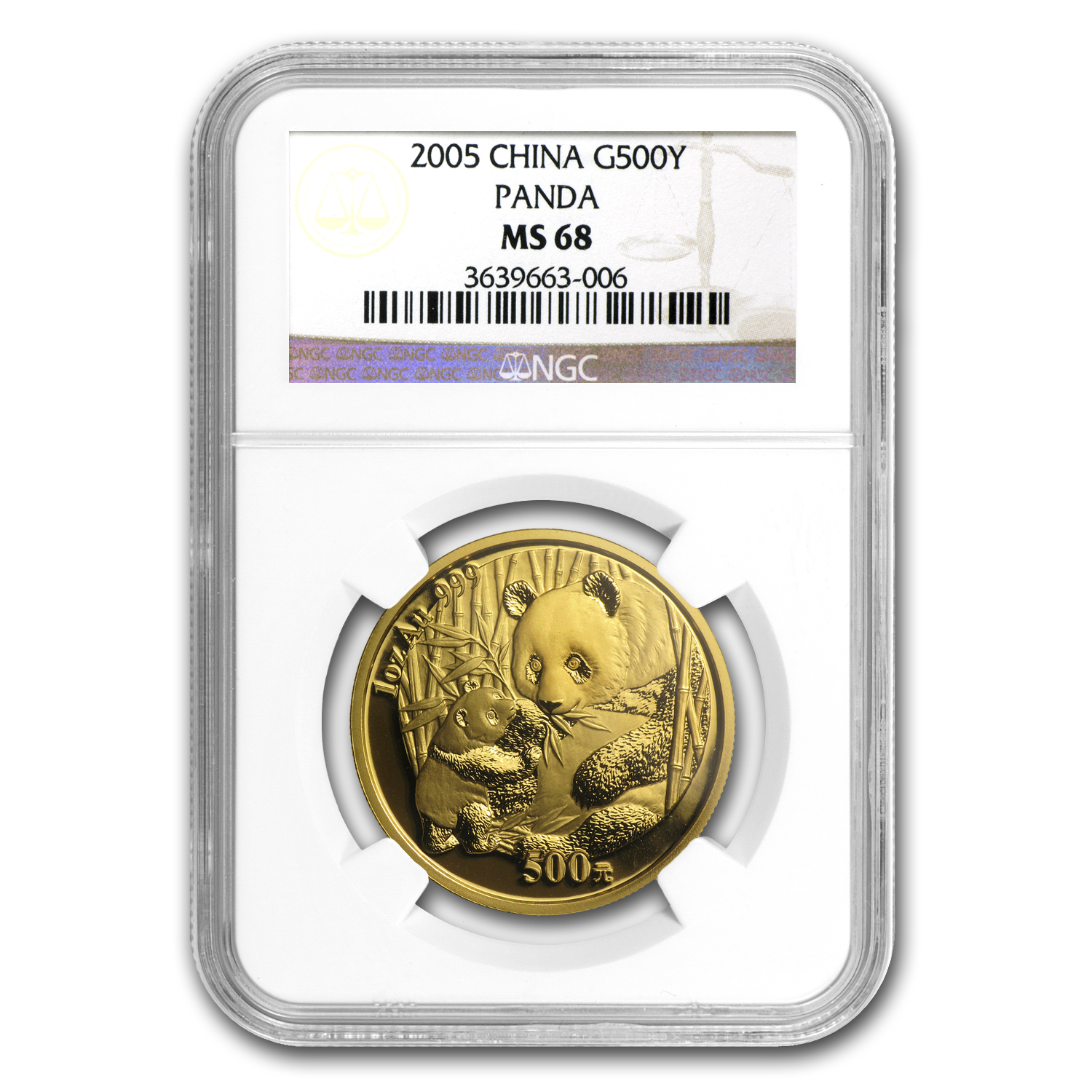 2005 China 1 oz Gold Panda MS-68 NGC