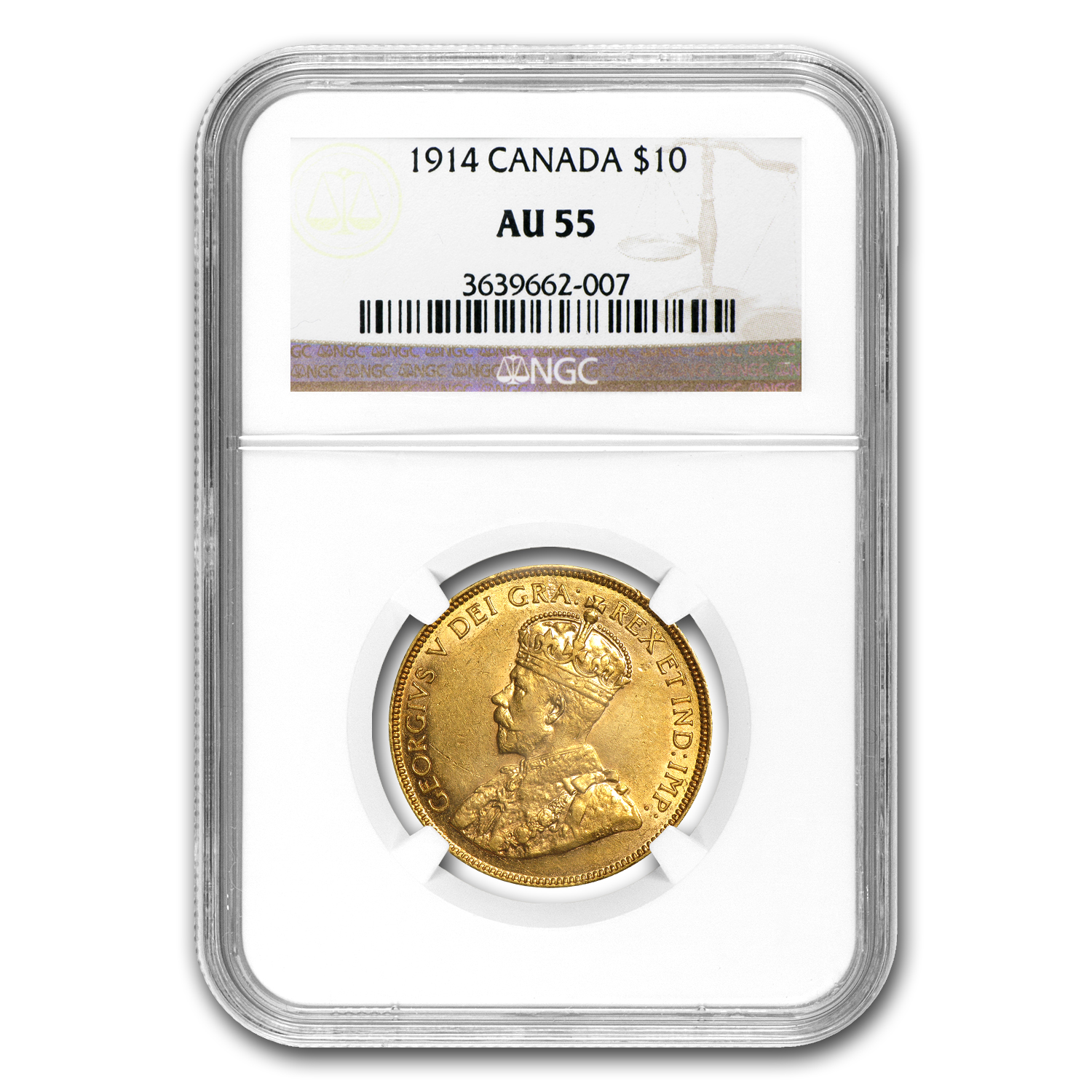 1914 Canada Gold $10 AU-55 NGC