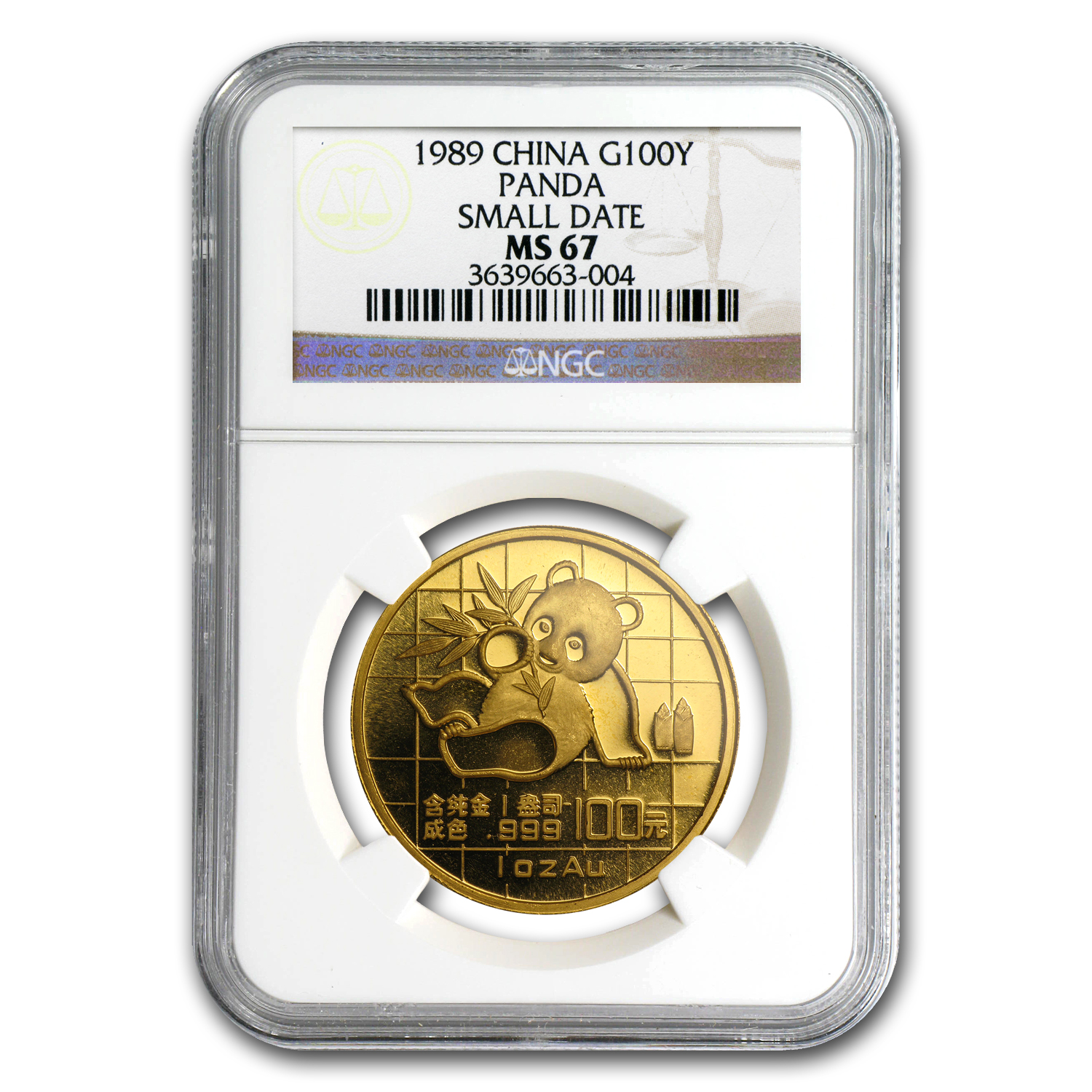 1989 1 oz Gold Chinese Panda MS-67 NGC - Small Date