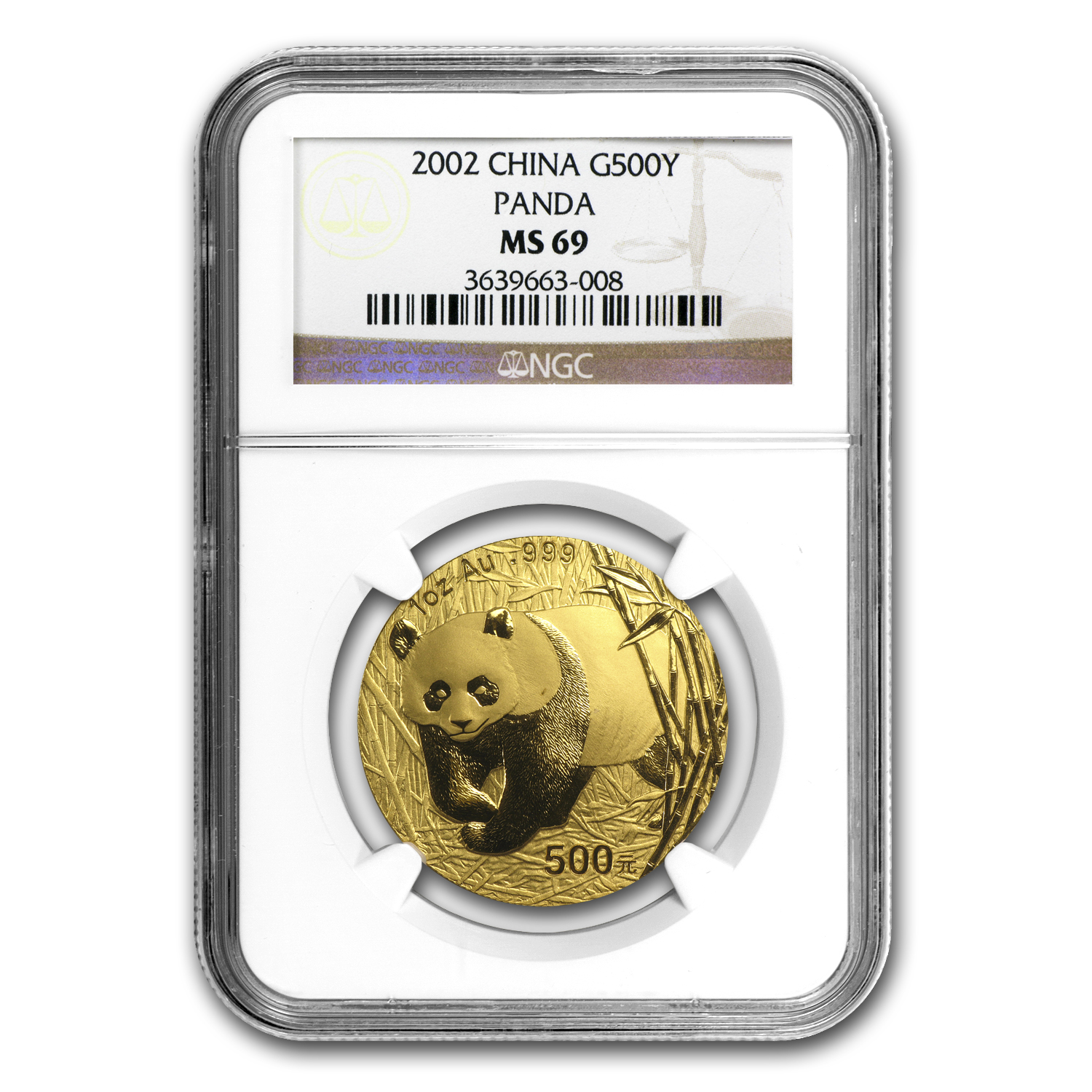 2002 China 1 oz Gold Panda MS-69 NGC