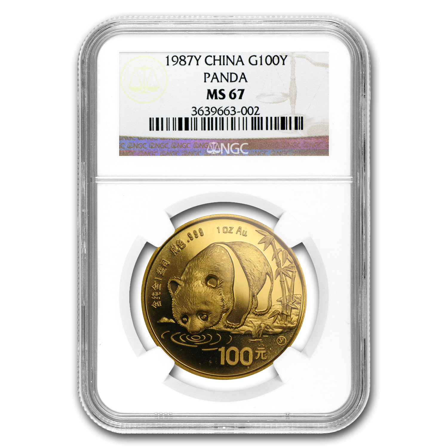 1987-Y China 1 oz Gold Panda MS-67 NGC