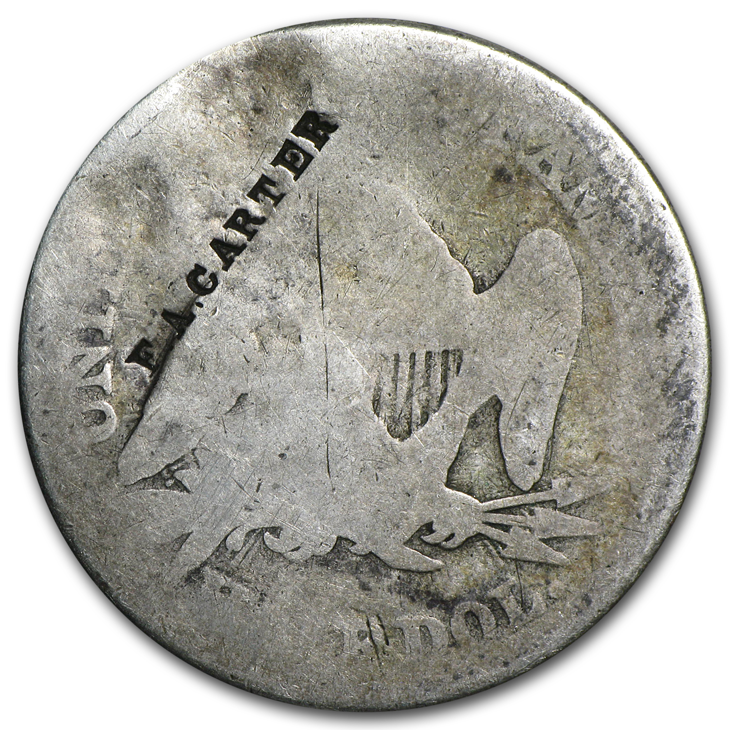 1853 Liberty Seated Half Dollar (Counterstamped F.A. Carter)