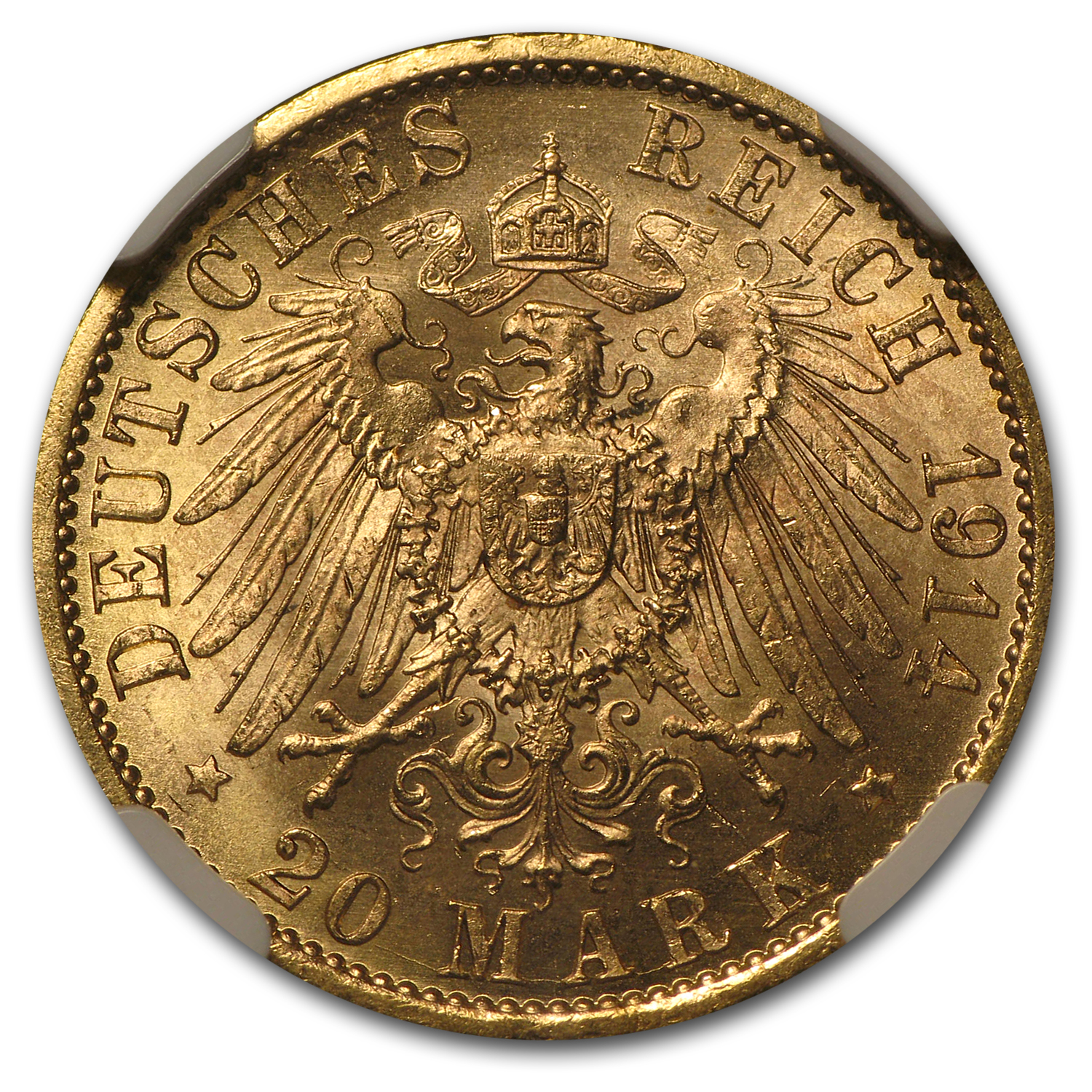 1914-A Germany/Prussia Gold 20 Marks MS-64 NGC