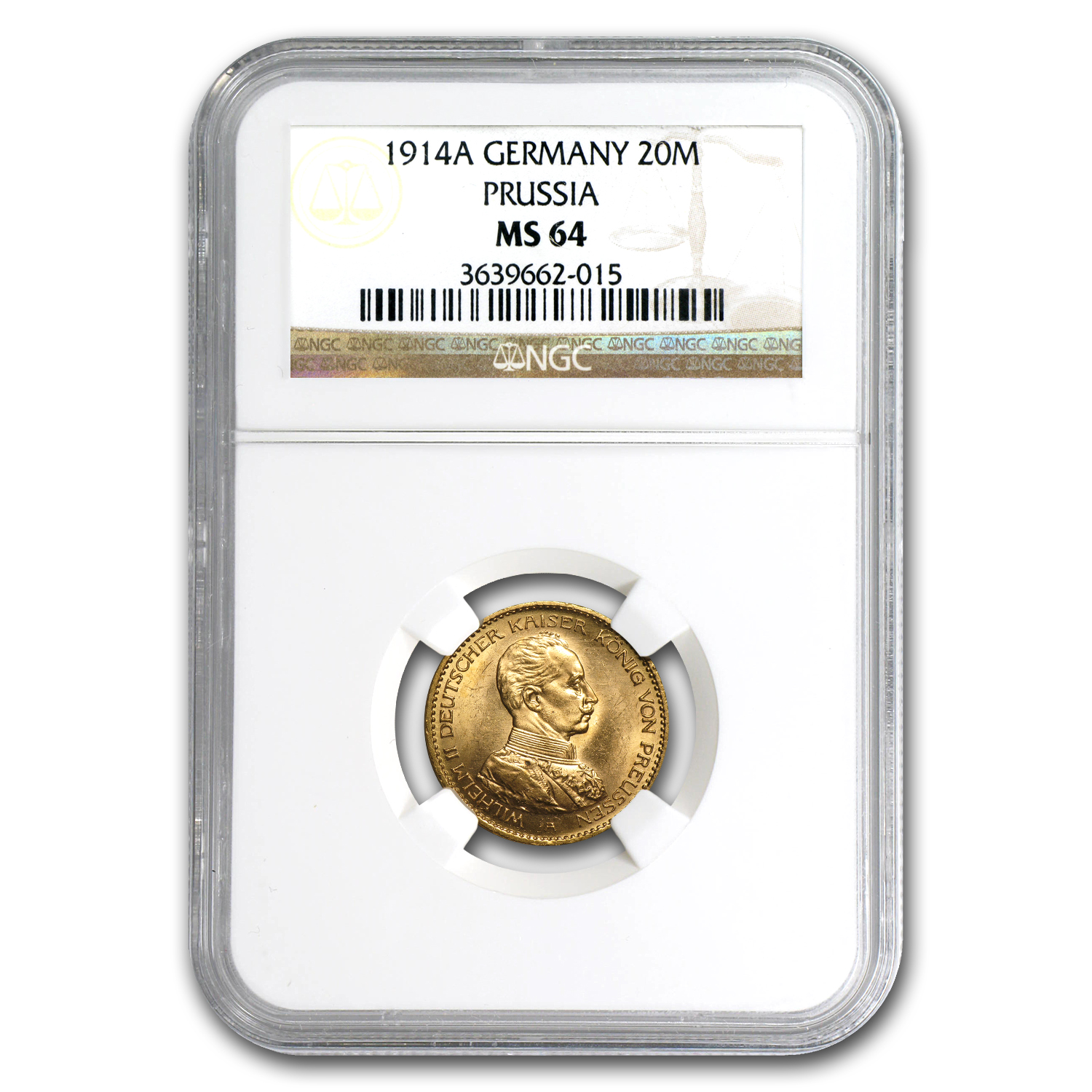 Germany (Prussia) 1914-A Gold 20 Mark NGC MS-64