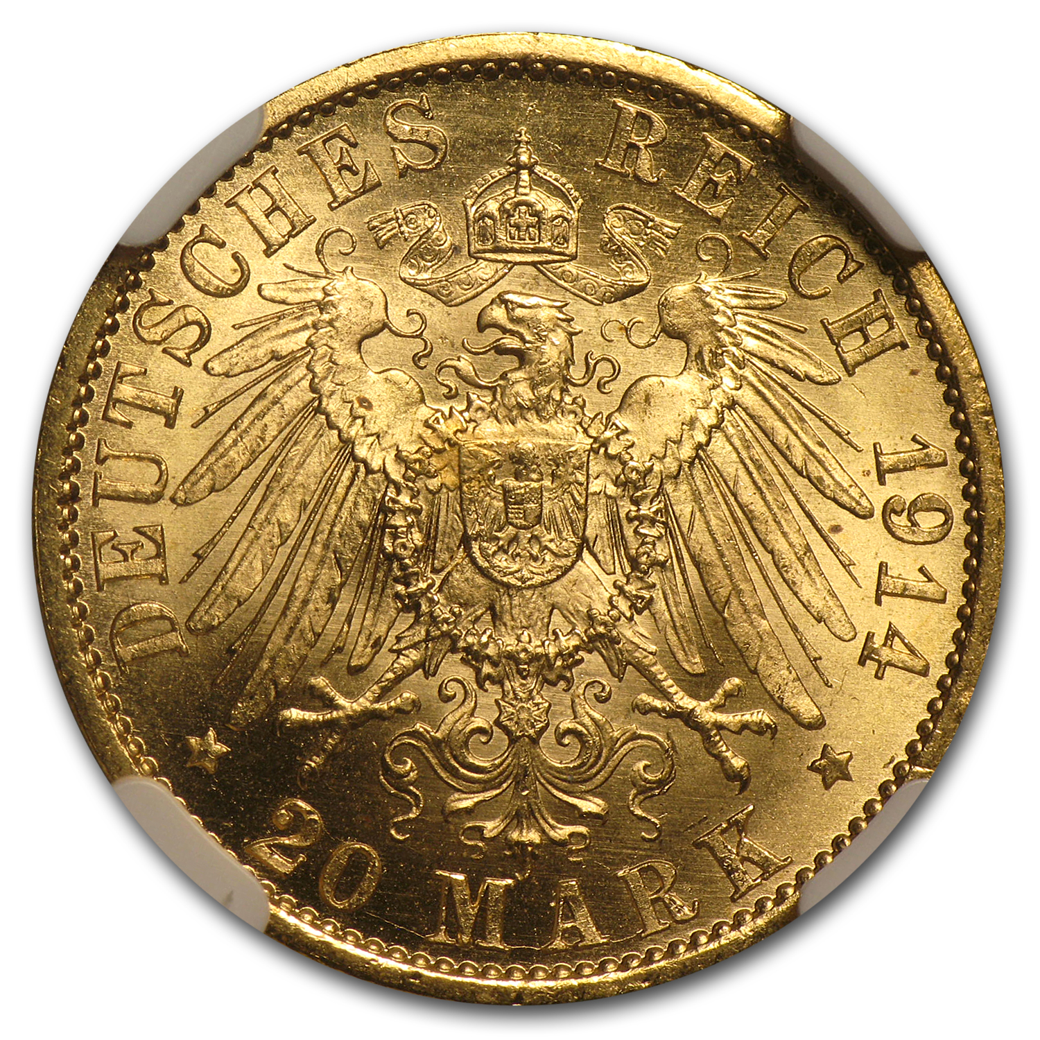 1914-A Germany/Prussia Gold 20 Marks MS-65 NGC