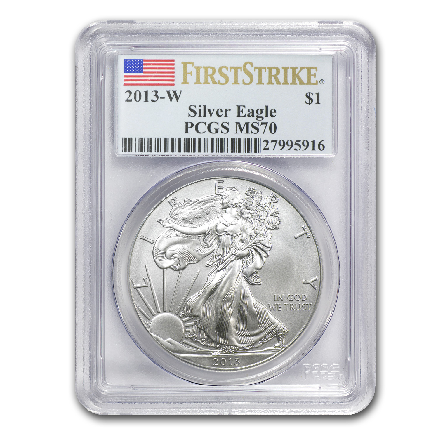 2013 W Burnished Silver American Eagle Ms 70 Pcgs First