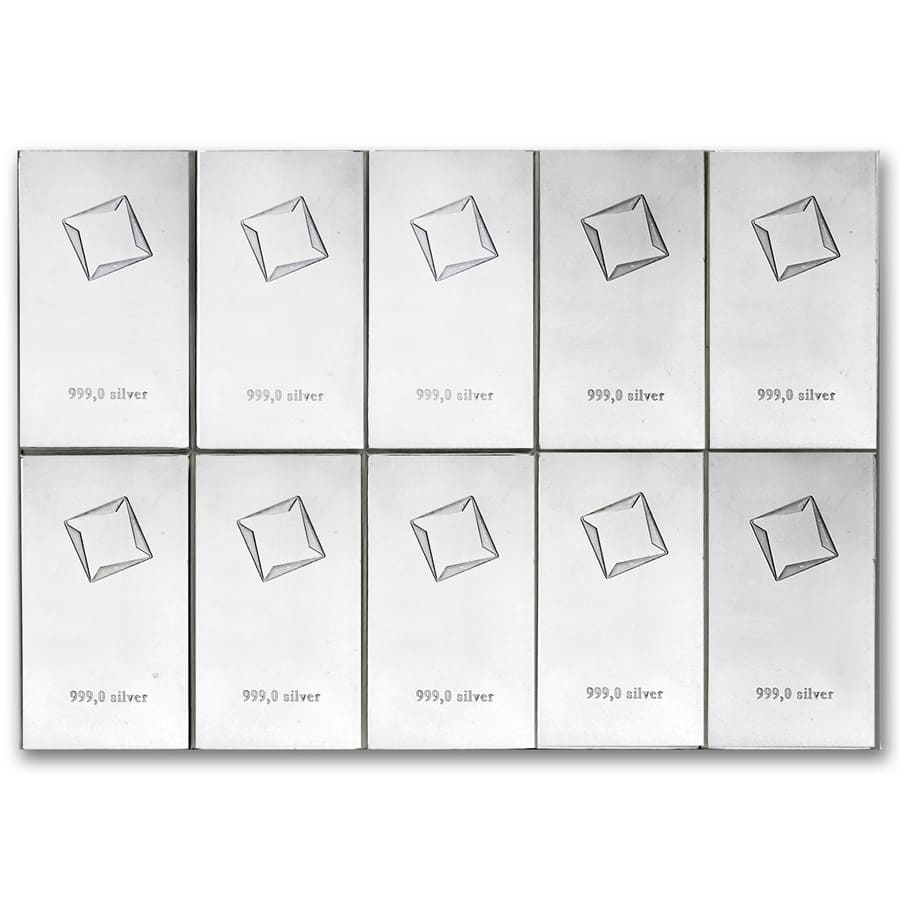 10 x 10 gram Silver Bars - Valcambi Silver CombiBar™ (With Assay)