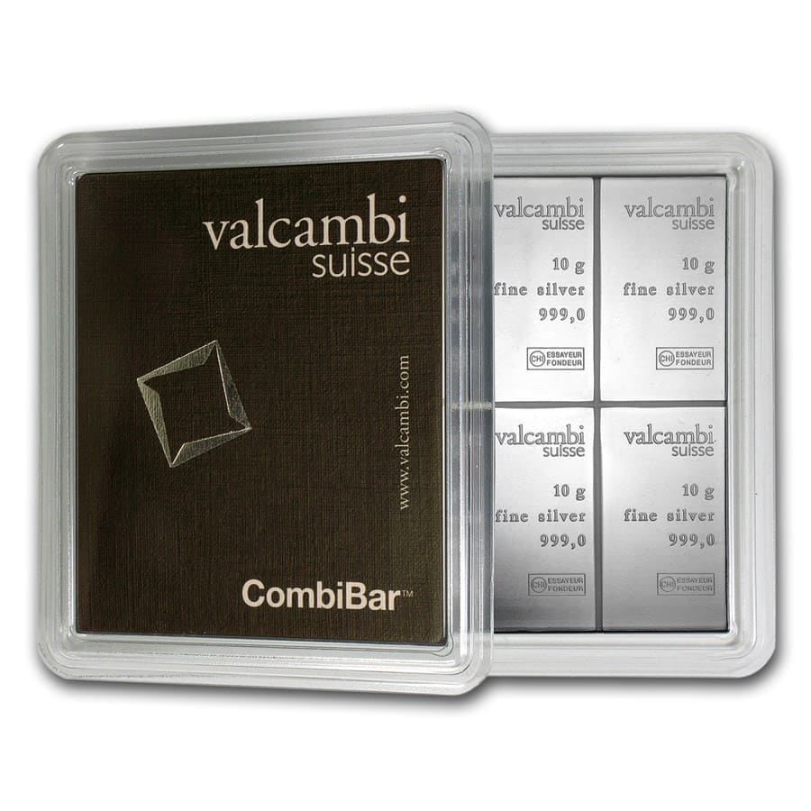 10 x 10 gram Silver Bar - Valcambi Silver CombiBar™ (With Assay)
