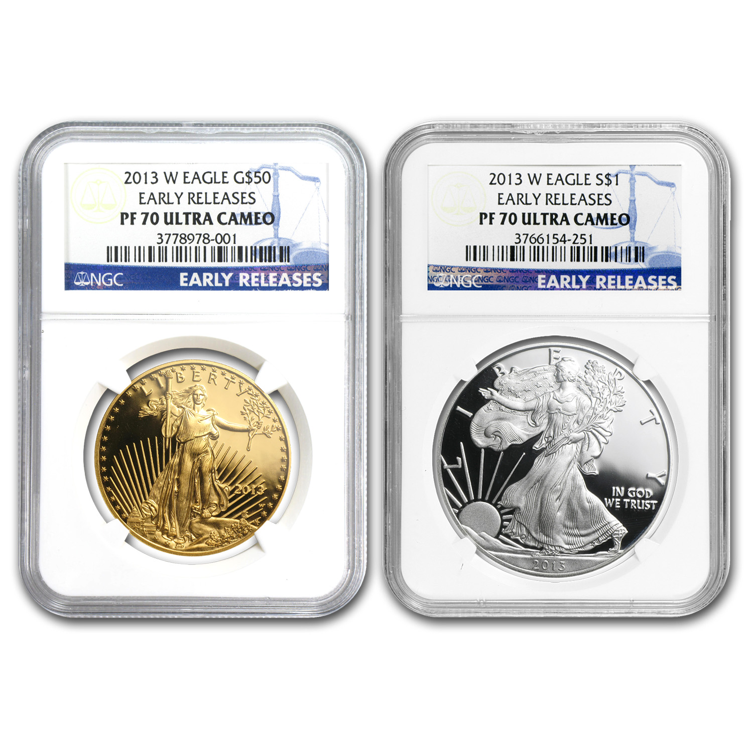 2013-W 2-Coin Gold & Silver American Eagle Set PF-70 NGC (ER)