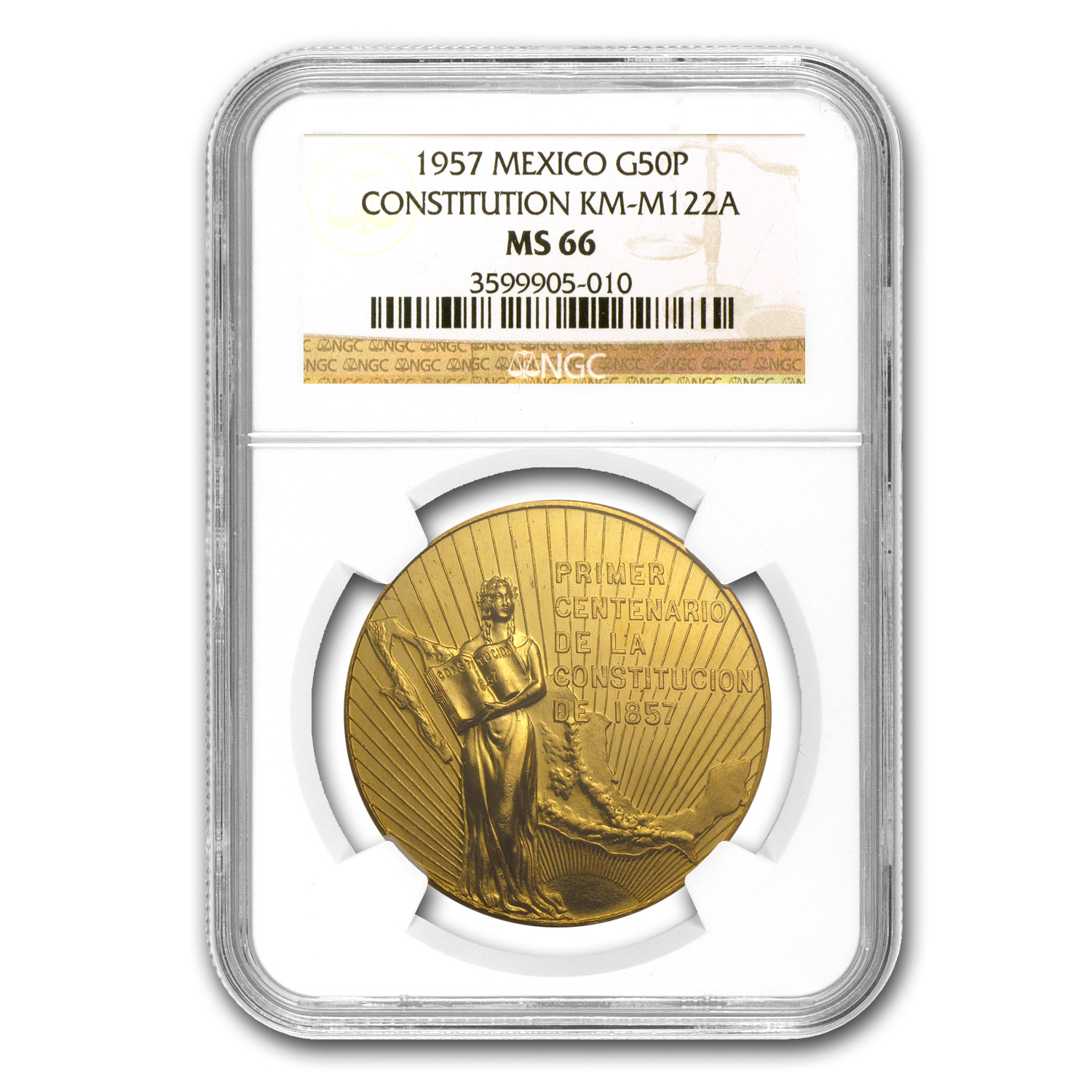1957 Mexico Centennial of Constitution Medal MS-66 NGC