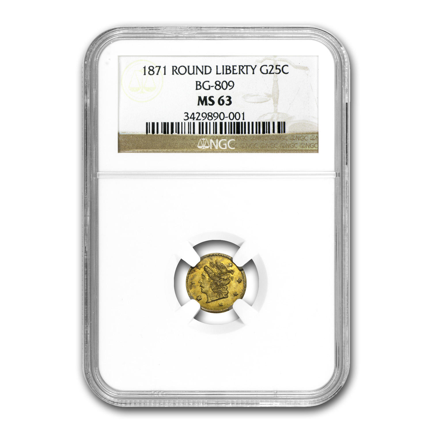 1871 BG-809 Liberty Round 25 Cent Gold MS-63 NGC