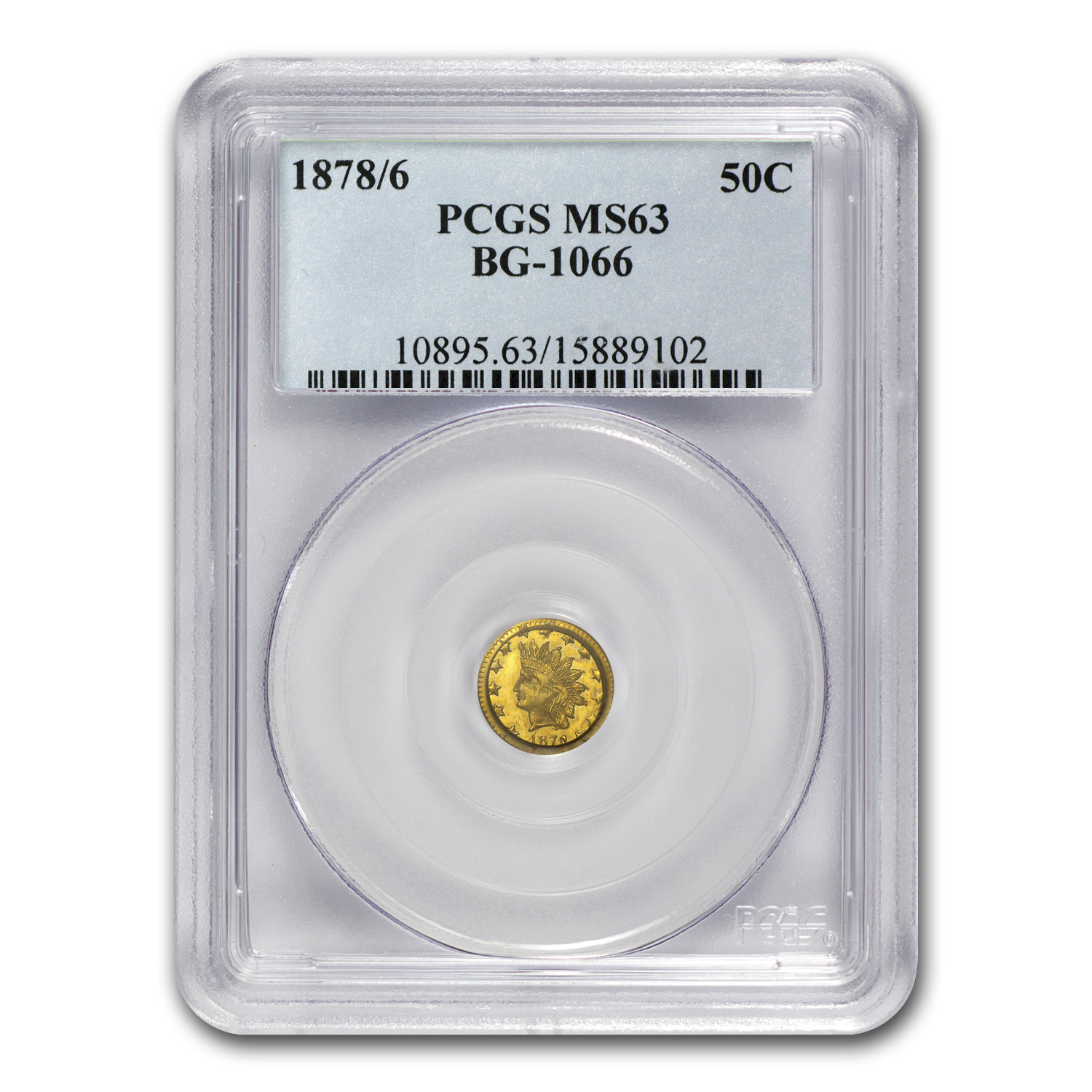 1878/6 BG-1066 Indian Round 50 Cent Gold MS-63 PCGS