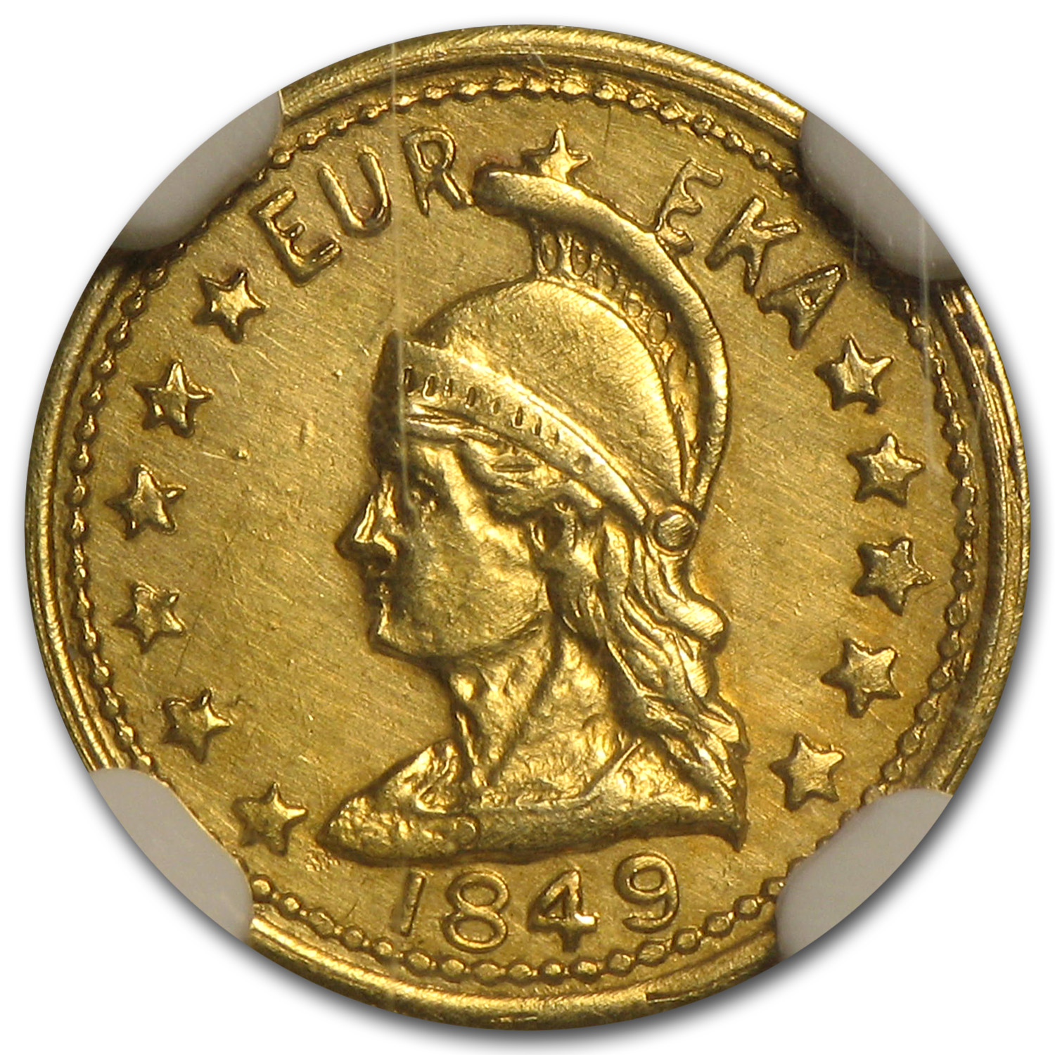 1849 Minerva Round One Dollar Gold MS-62 NGC
