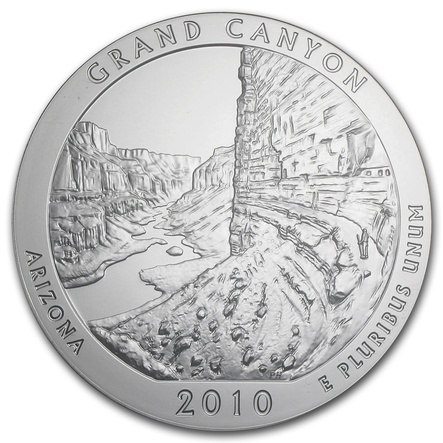 2010-P 5 oz Silver ATB Grand Canyon PCGS SP-64 PCGS - Light Satin