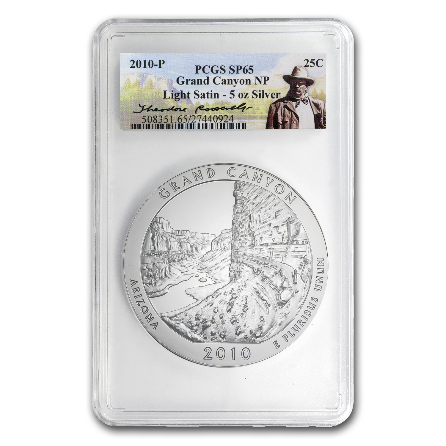 2010-P 5 oz Silver ATB Grand Canyon SP-65 PCGS (Light Satin)