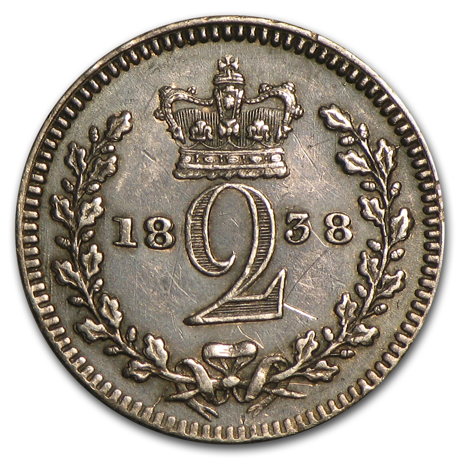 1838 Great Britain Silver 2 Pence Victoria VF/EF