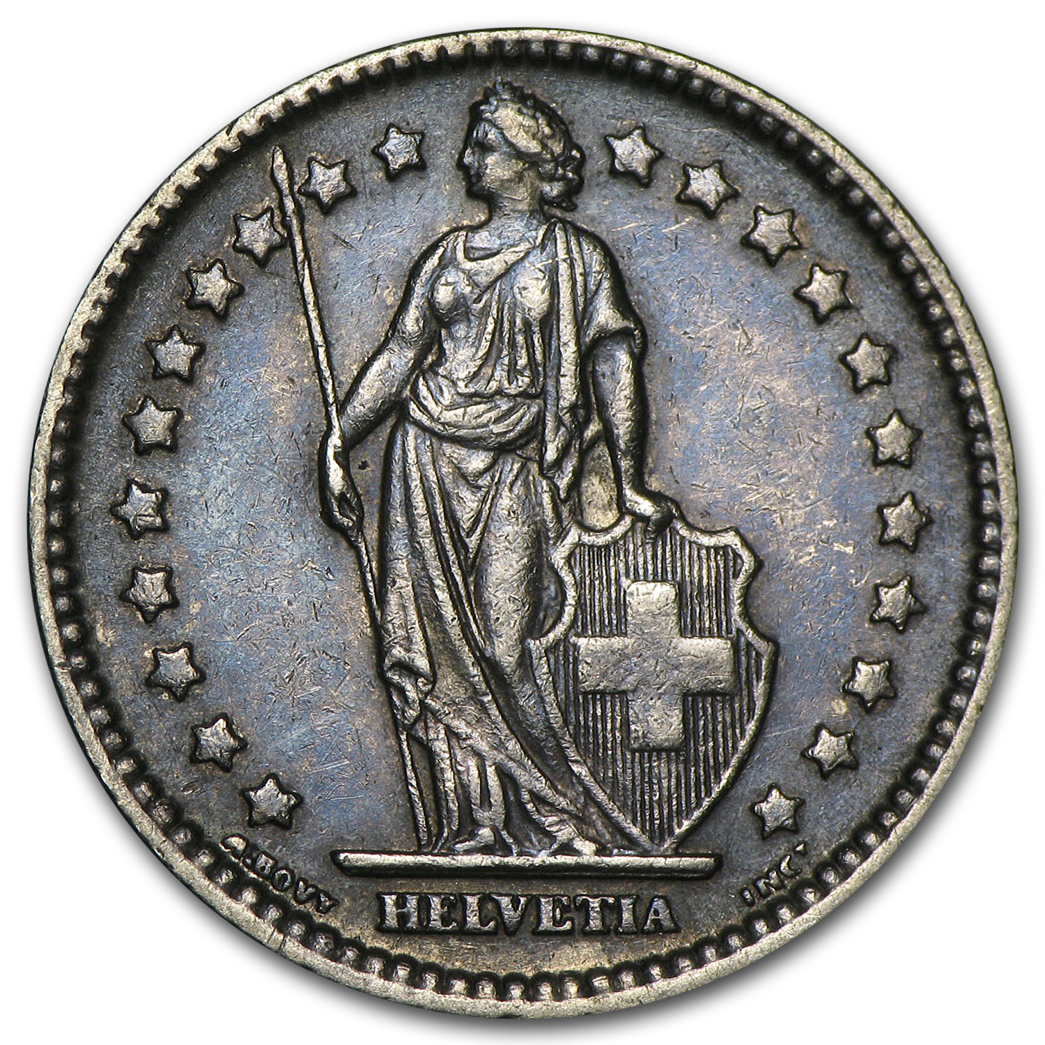 Switzerland 1907-B Silver 1 Franc EF