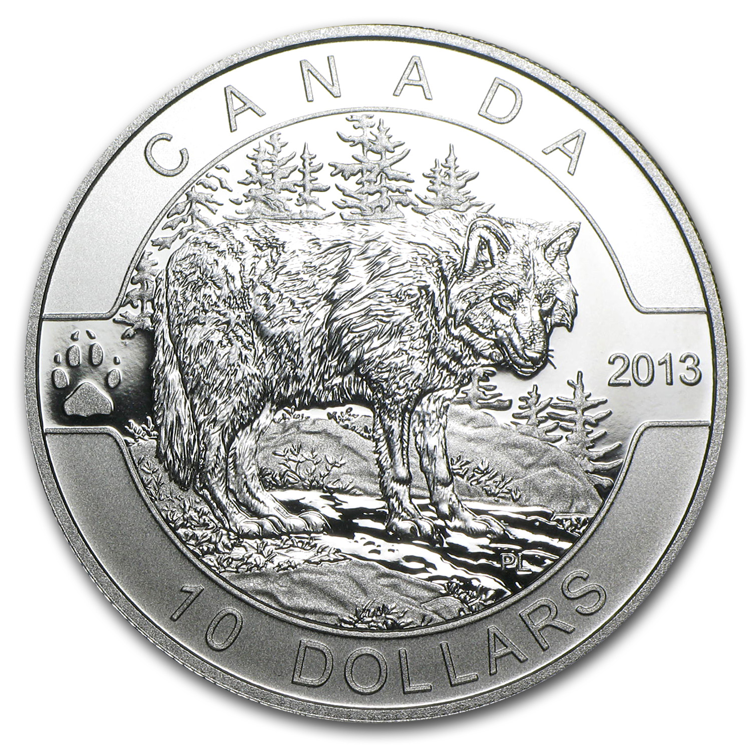 2013 Canada 1/2 oz Silver $10 The Wolf (w/Box & COA)