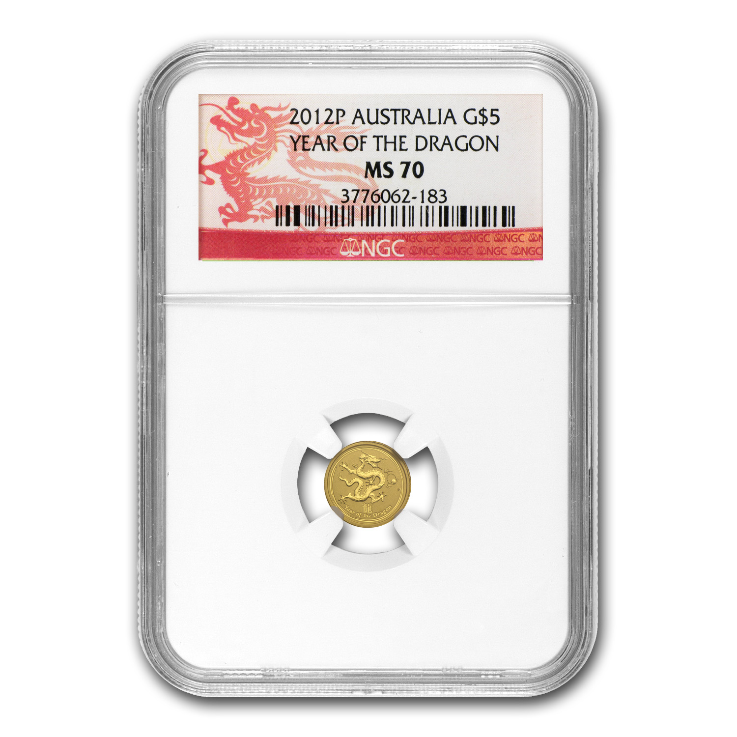 2012 1/20 oz Gold Lunar Year of the Dragon MS-70 NGC (SII)