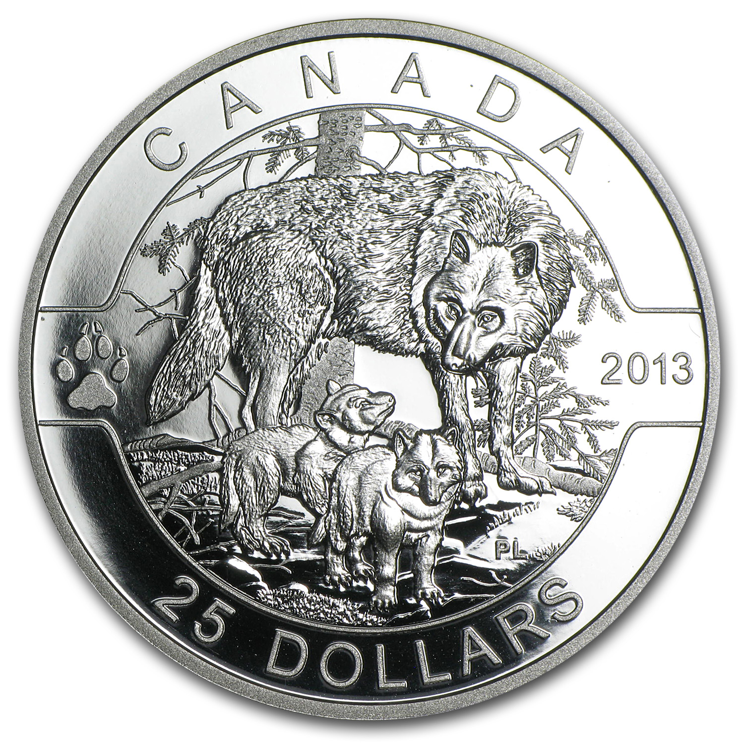 2013 1 oz Silver Canadian $25 The Wolf (w/Box & COA)