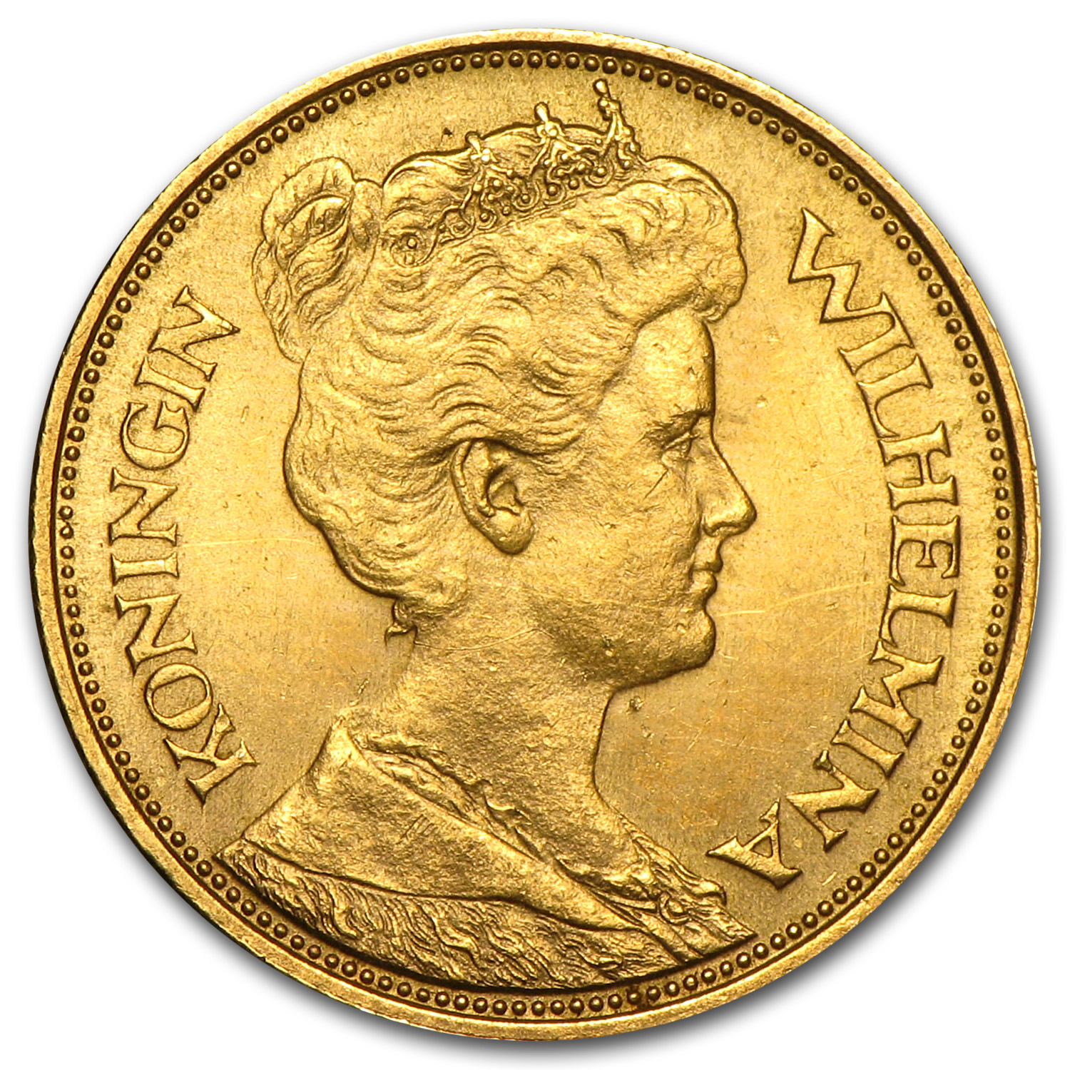 1912 Netherlands Gold 5 Gulden AU