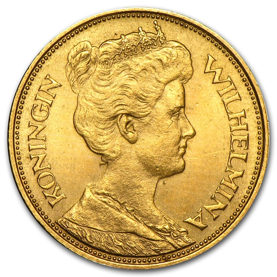 1912 Netherlands Gold 5 Gulden Au Gold Coins From