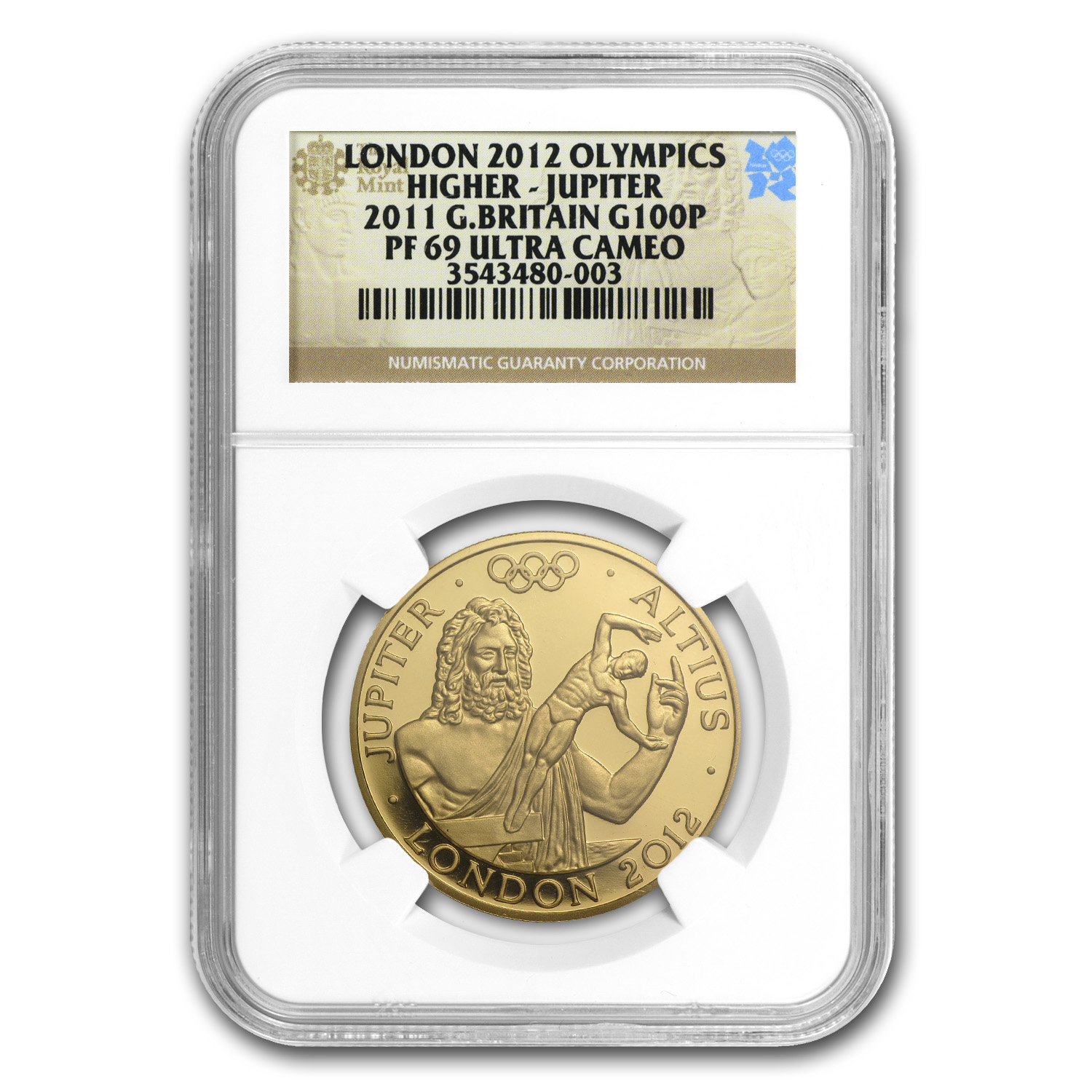 2011 Great Britain £100 Gold Higher Jupiter - PF-69 UCAM NGC