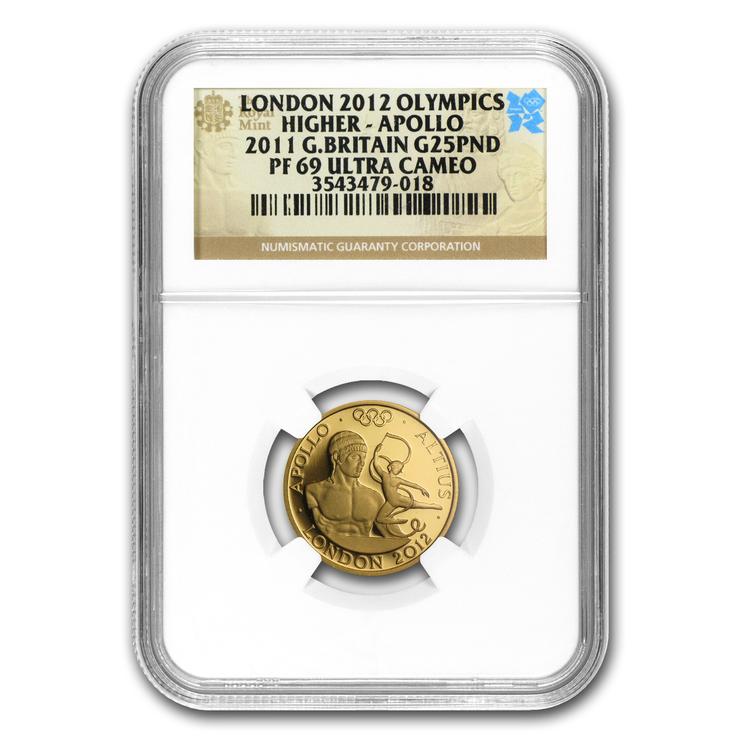 2011 Great Britain Gold £25 Apollo Higher PF-69 NGC