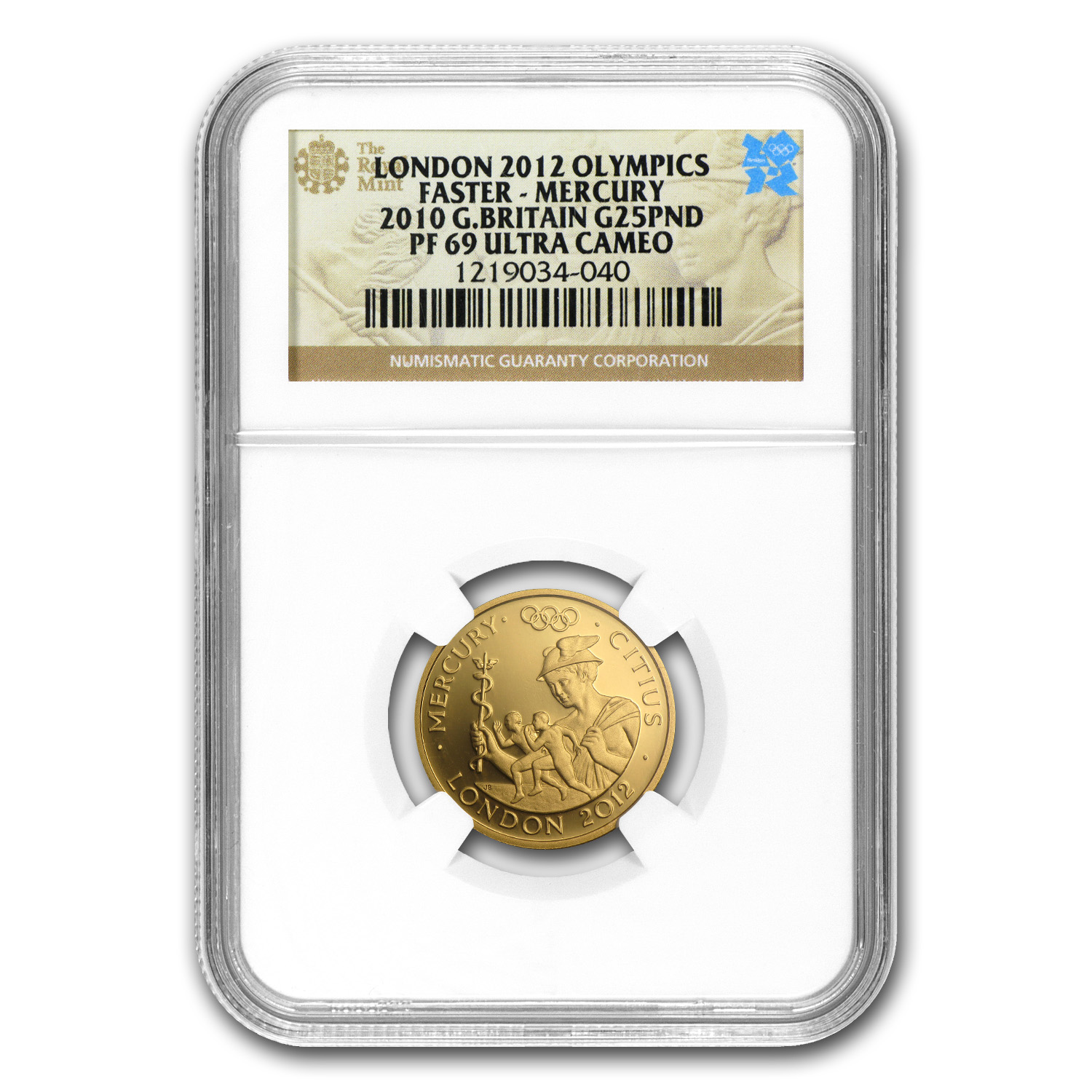 2010 Great Britain £25 Gold Faster Mercury - PF-69 UCAM NGC