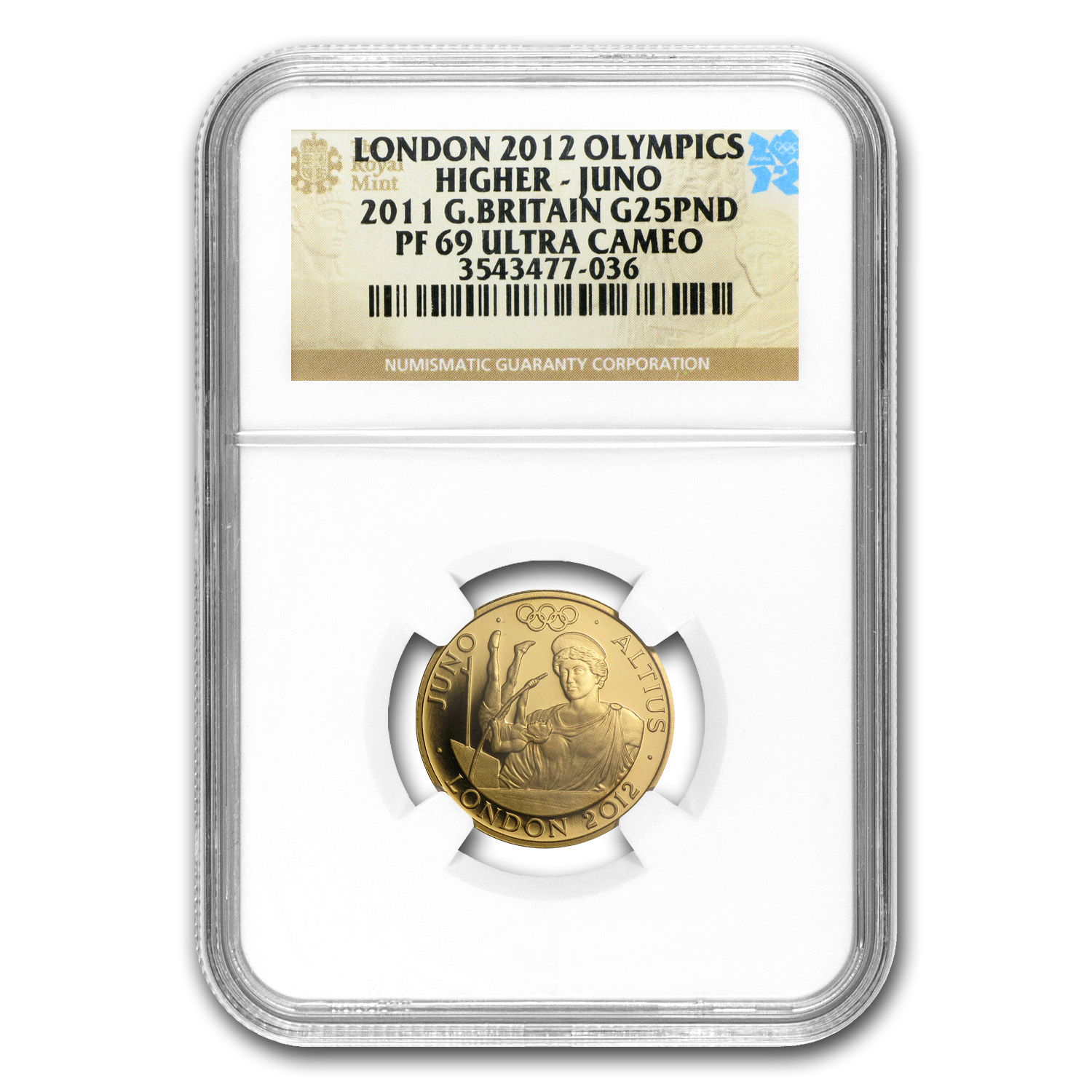 2011 Great Britain £25 Gold Higher Juno - PF-69 UCAM NGC