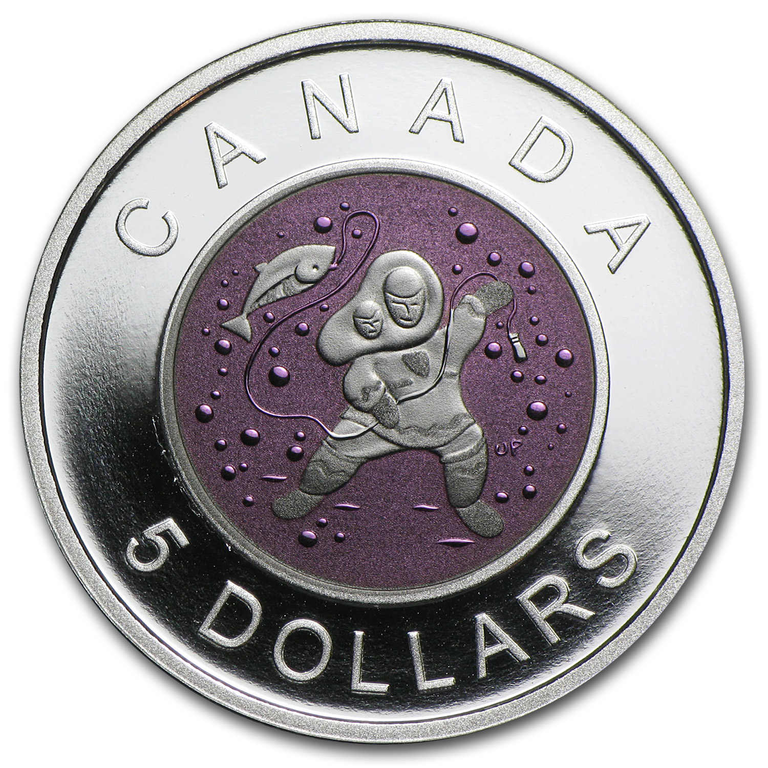 2013 Canada Silver & Niobium $5 Mother & Baby Ice Fishing