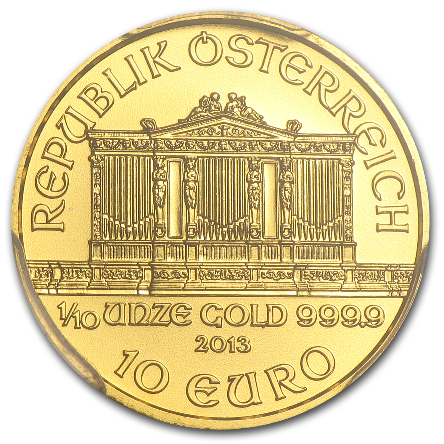 2013 Austria 1/10 oz Gold Philharmonic MS-70 PCGS