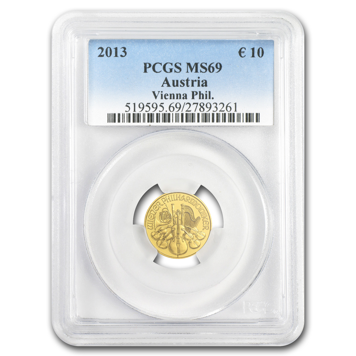 2013 1/10 oz Gold Austrian Philharmonic MS-70 PCGS Registry Set