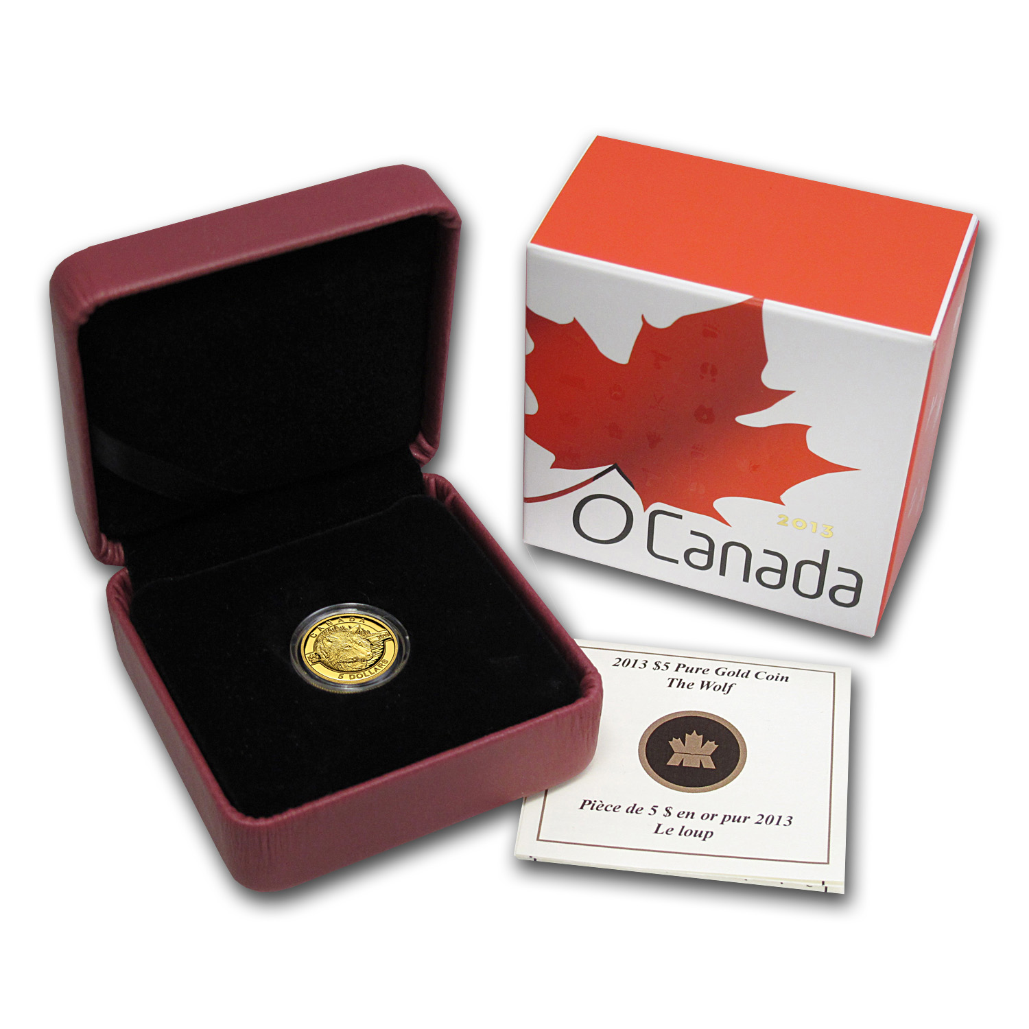 2013 Canada 1/10 oz Proof Gold $5 The Wolf