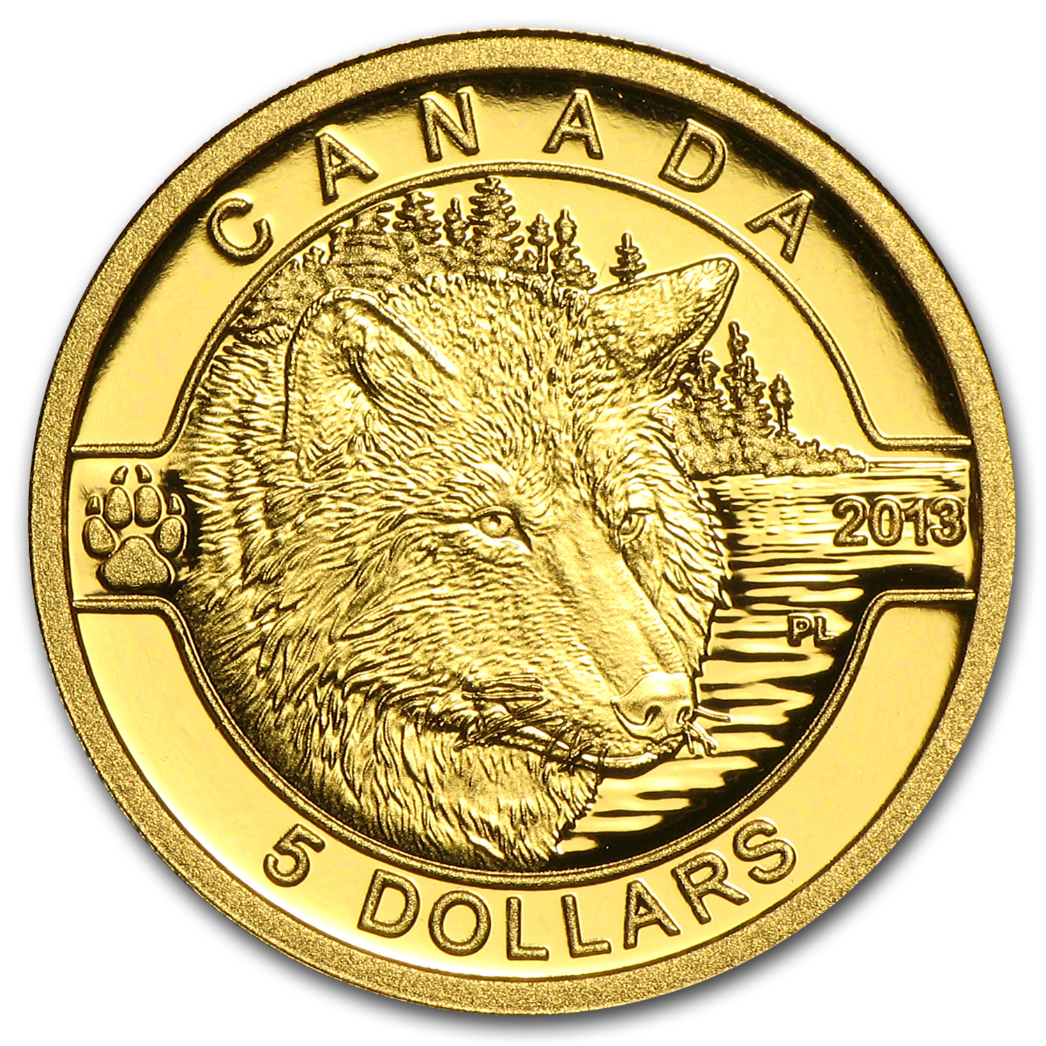 2013 1/10 oz Gold Canadian $5 The Wolf Proof