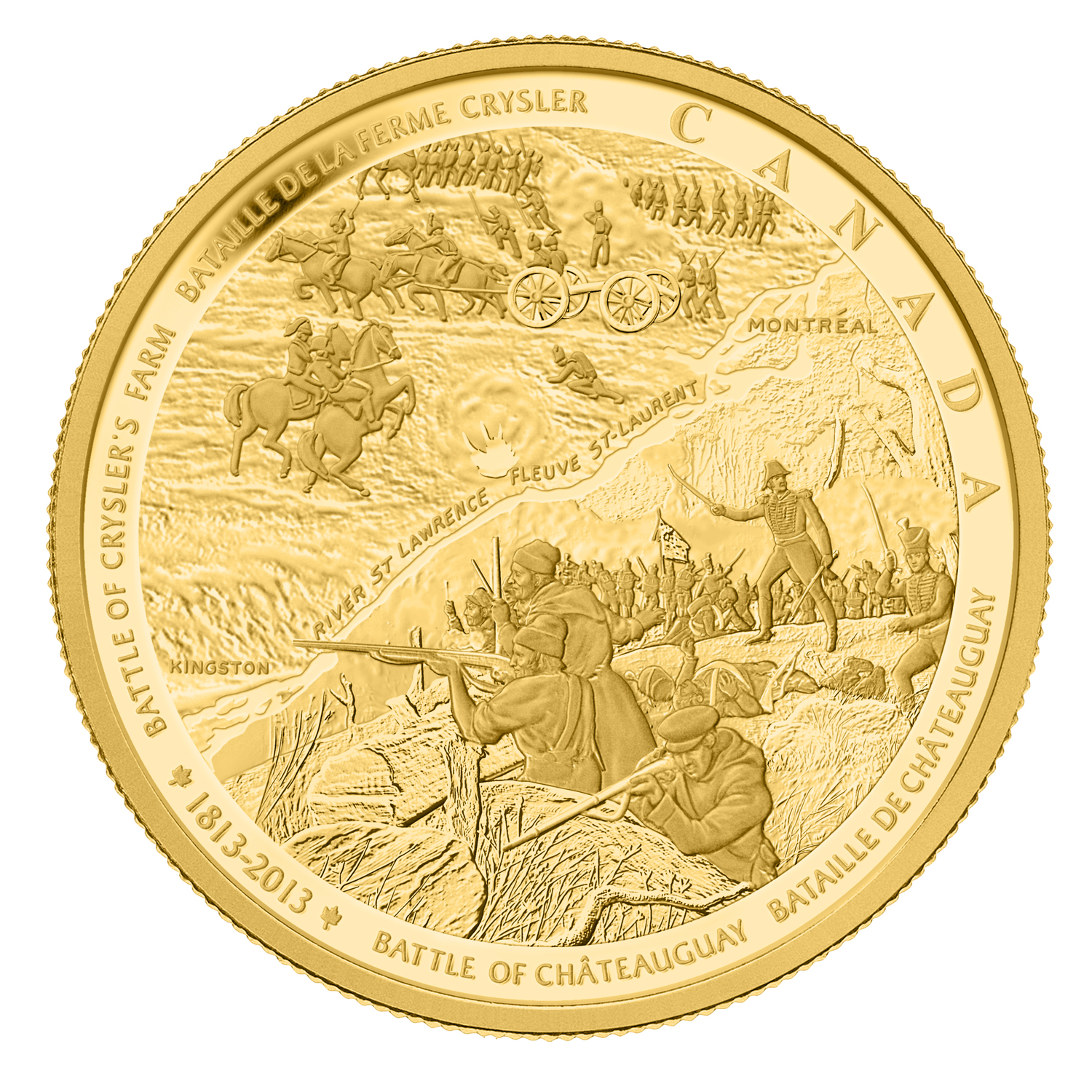 2013 Can 1 kilo Prf Gold $2,500 War of 1812 Battle of Chateauguay