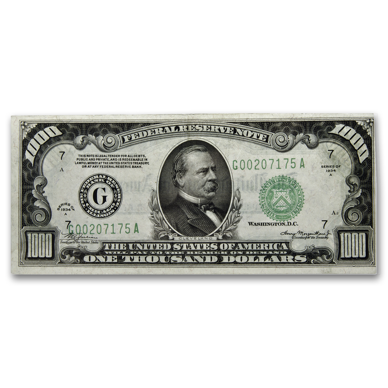 1934-A (G-Chicago) $1,000 FRN VF+ (SN#G00207175A)