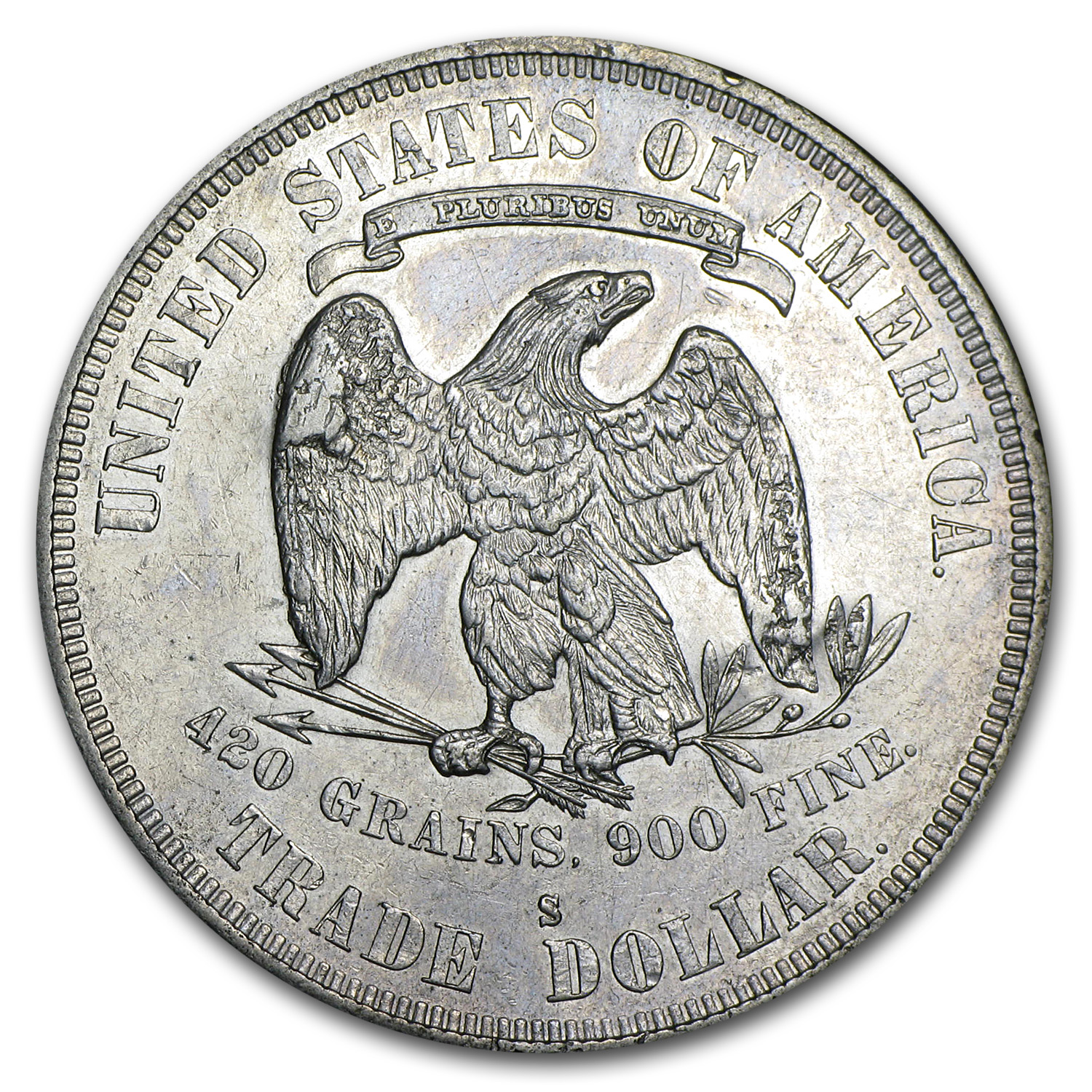 1878-S Trade Dollar - Almost Uncirculated - Chopmarks