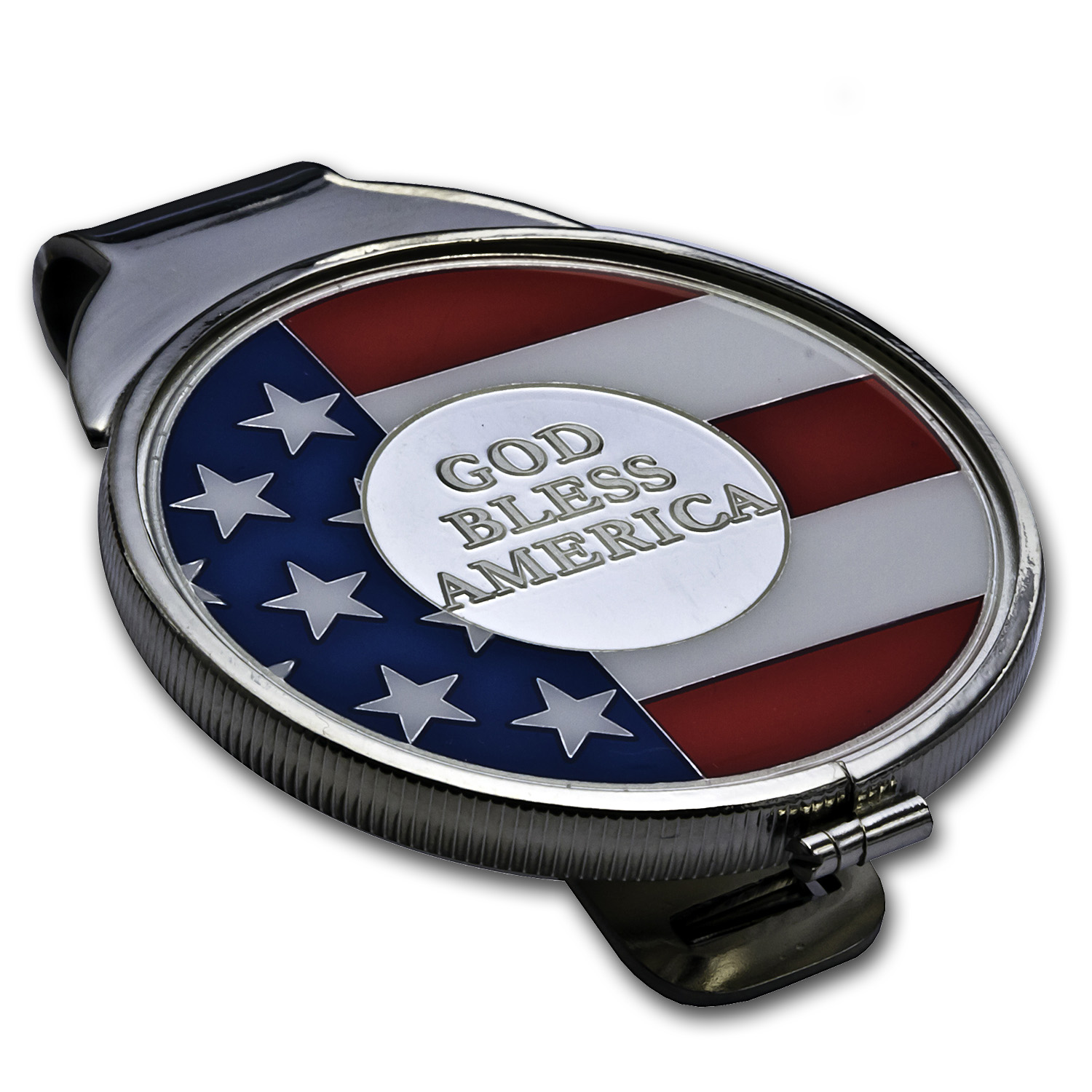 God Bless America Enameled Silver Round - Money Clip (Silvertone)