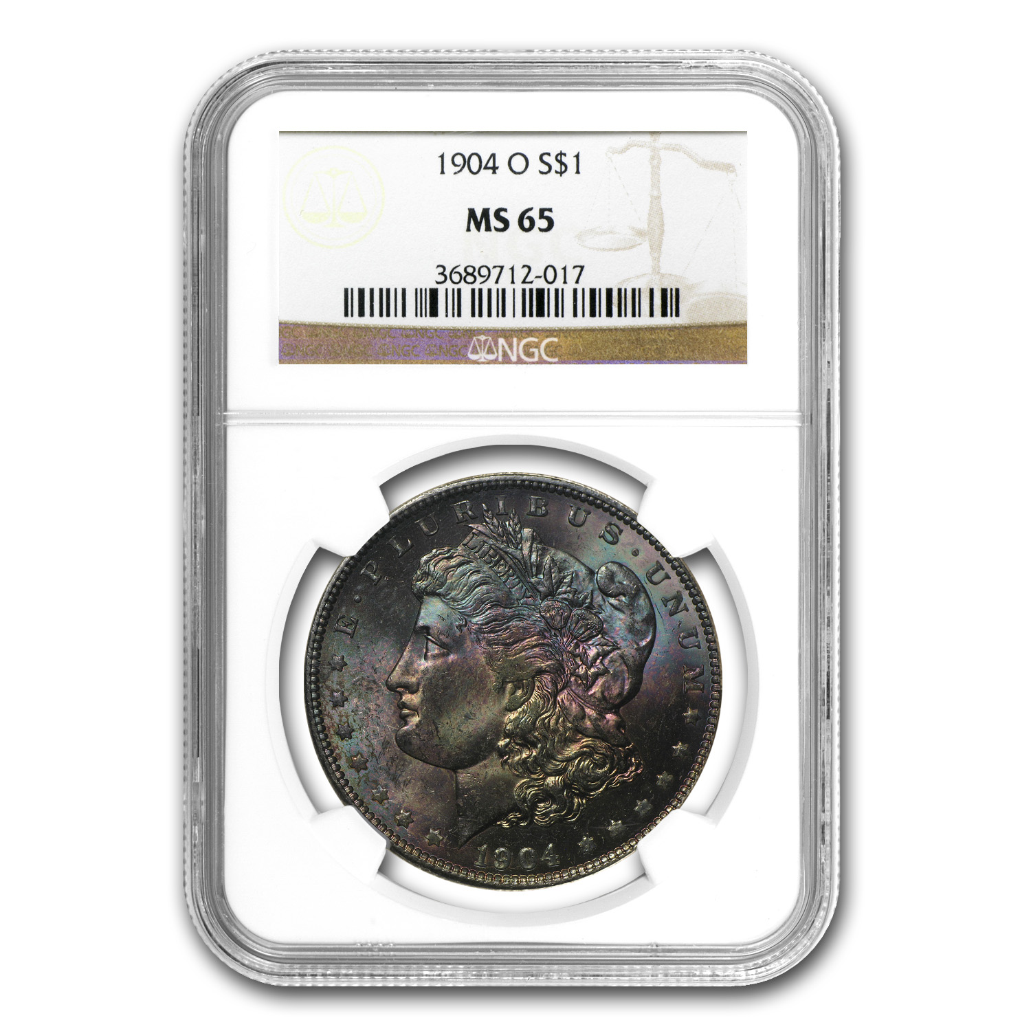 1904-O Morgan Dollar MS-65 NGC Beautiful Obverse Colors