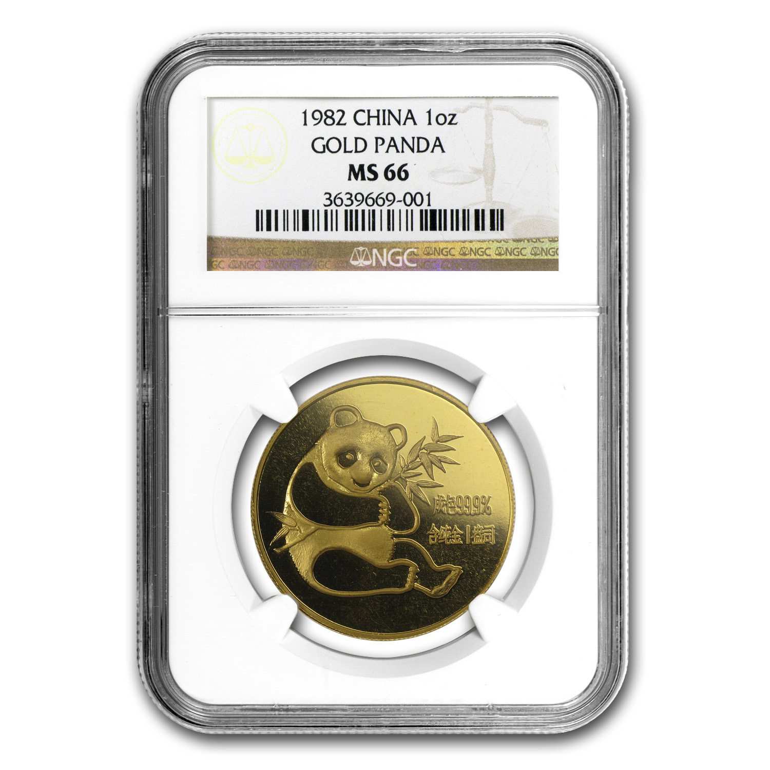1982 China 1 oz Gold Panda MS-66 NGC