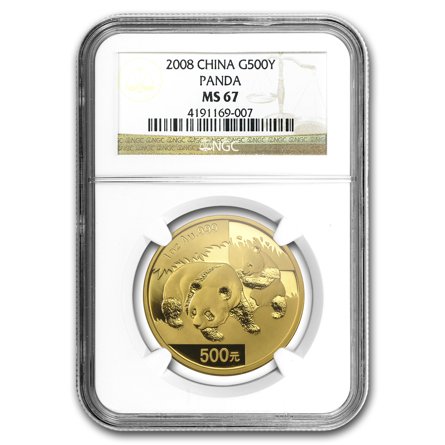 2008 China 1 oz Gold Panda MS-67 NGC